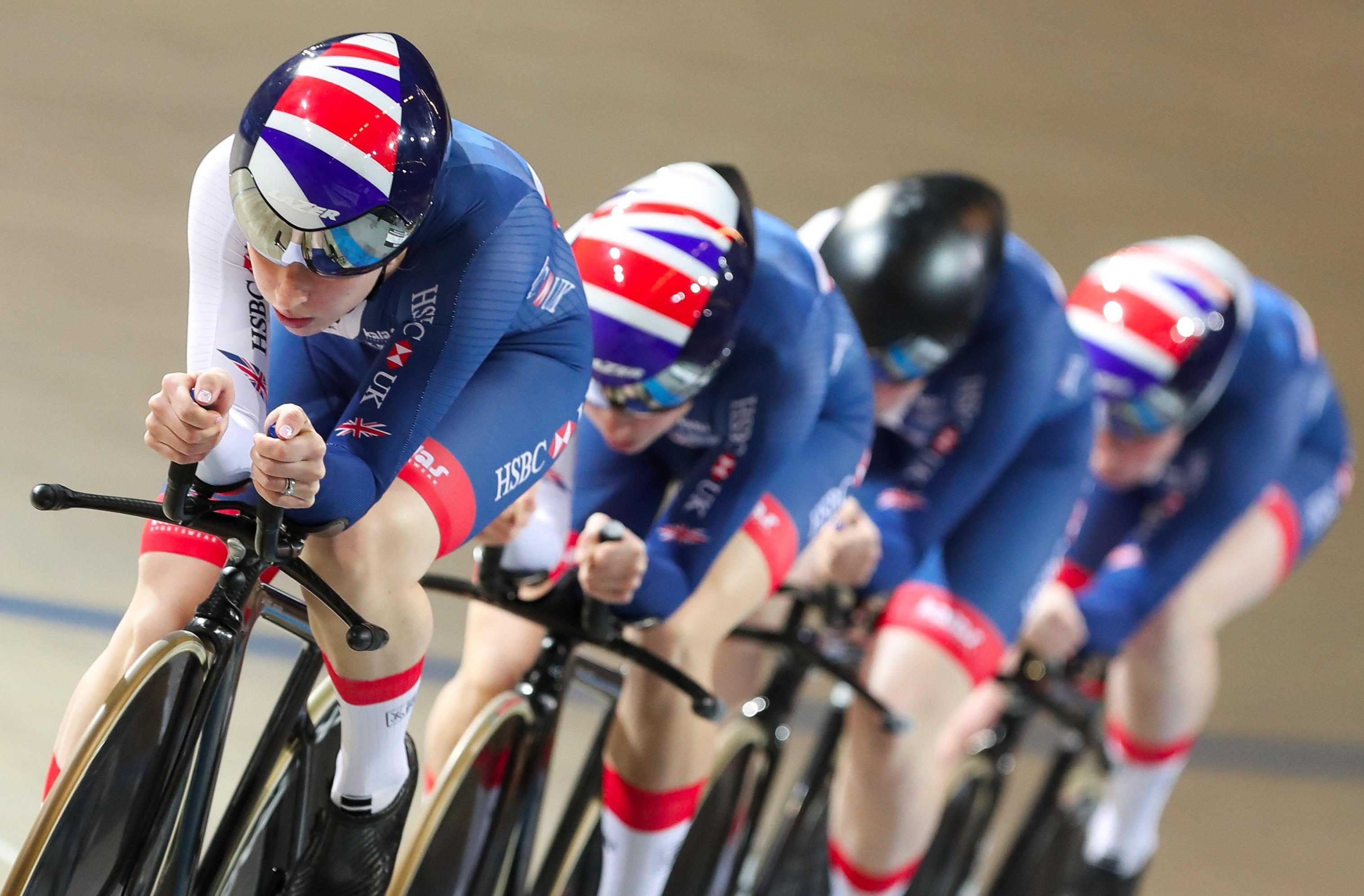 Laura Kenny, left, and her Great Britain pals claimed silver in the women's team pursuit