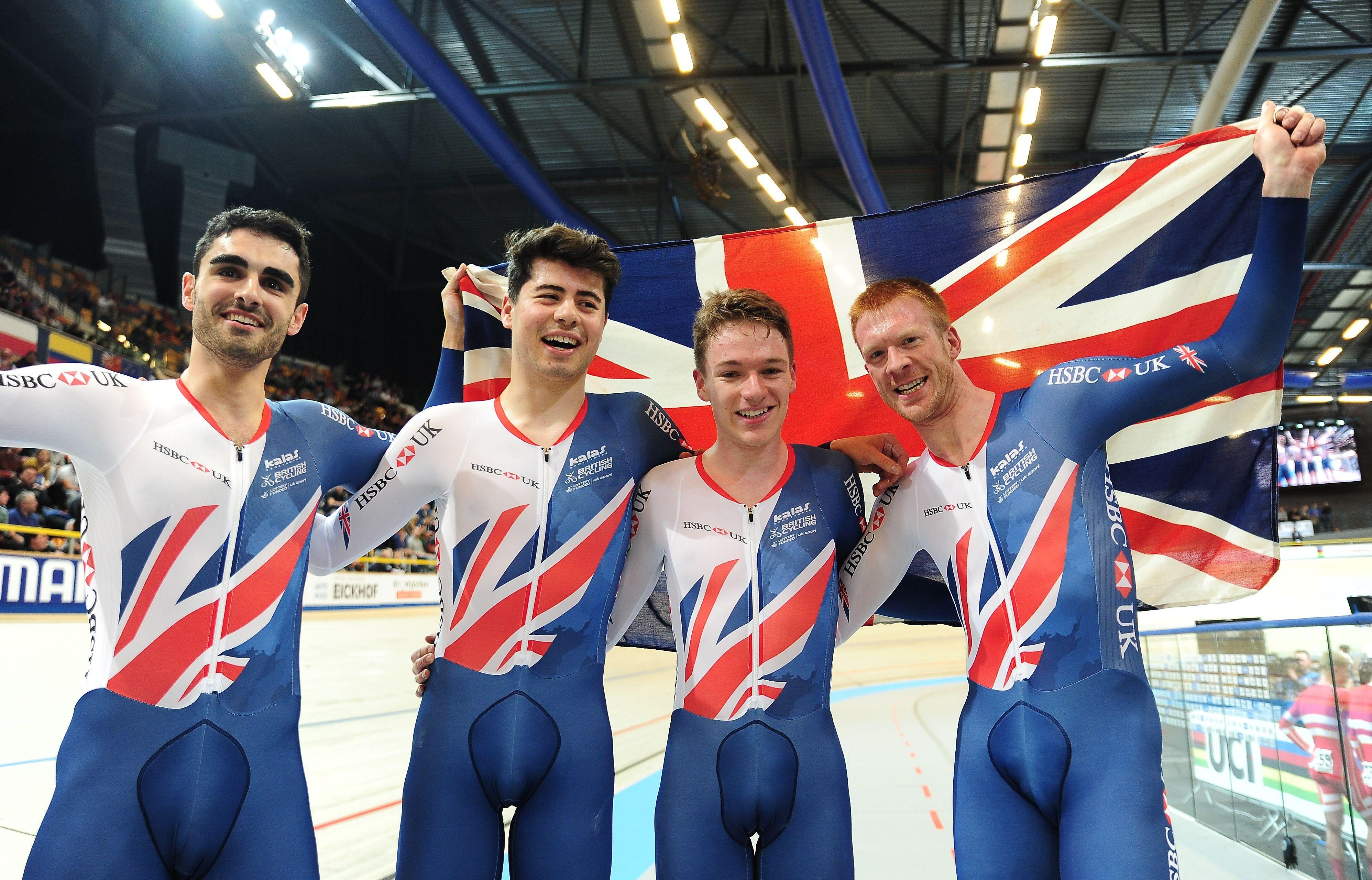 Britain's men including Kian Emadi, left, Charlie Tanfield, Ethan Hayter and Ed Clancy celebrated team pursuit gold as the dominated the gold medal ride over Denmark