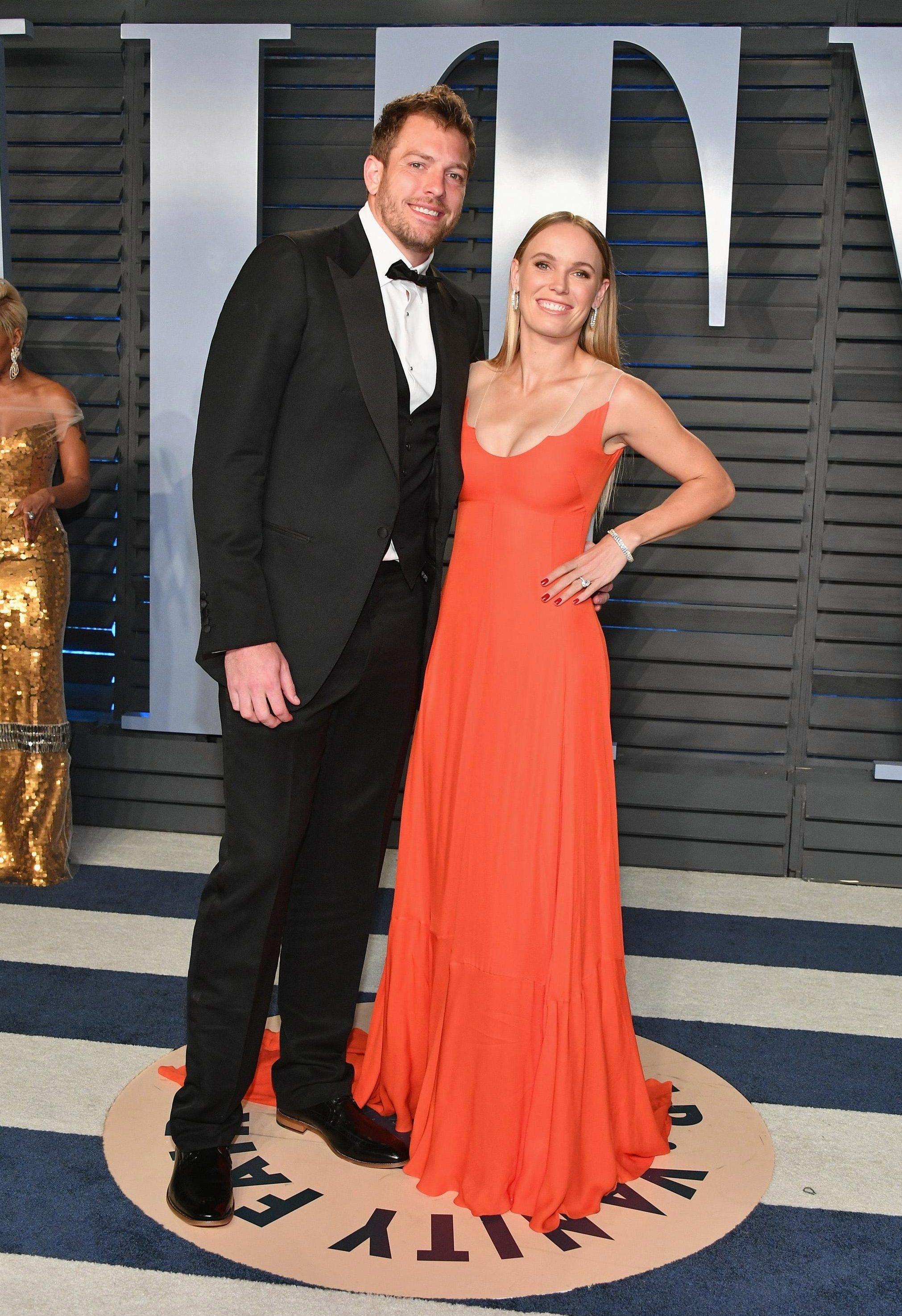 The Danish tennis star with fiance David Lee