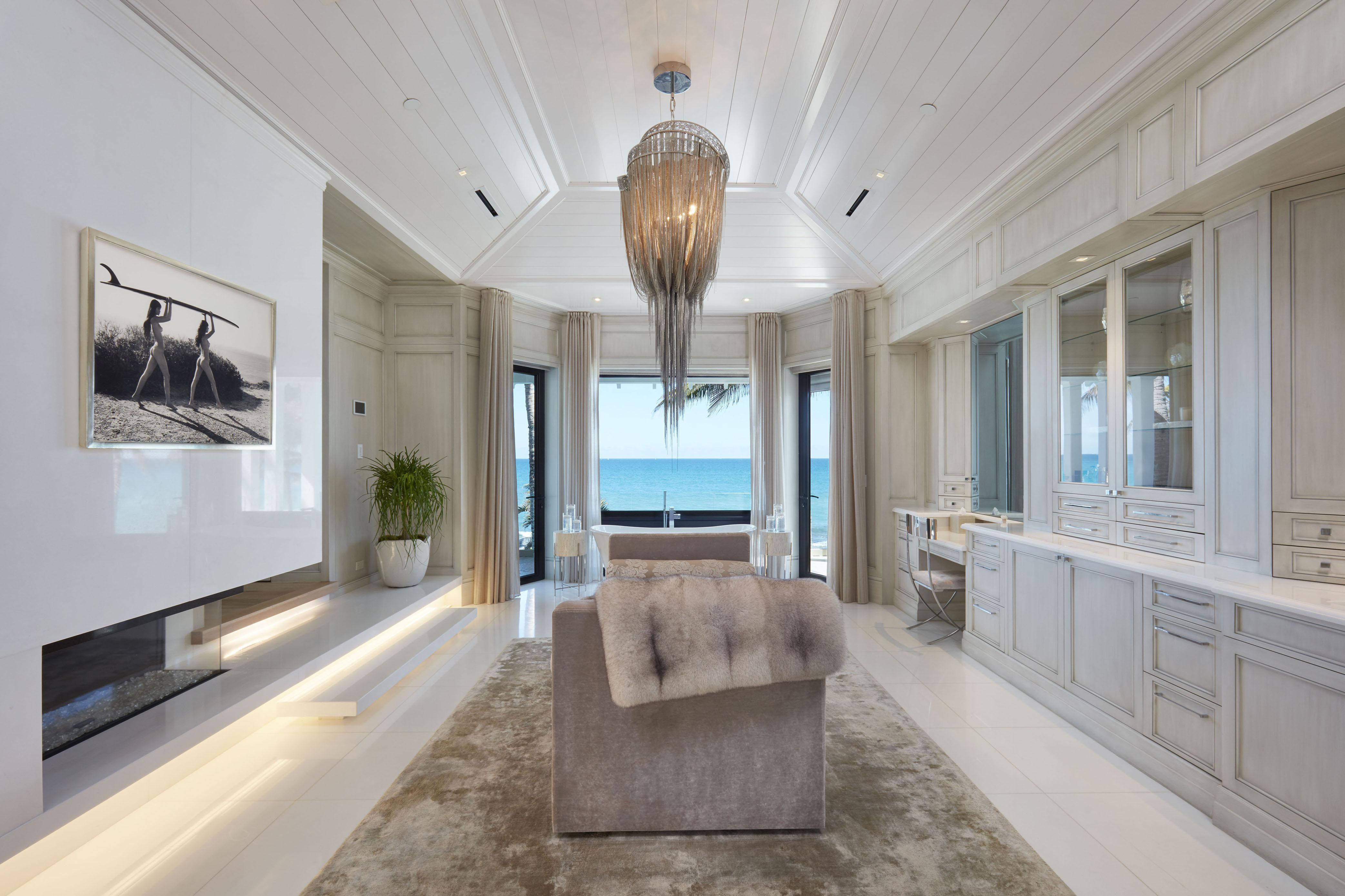 The incredible home is decorated with a cream colour scheme
