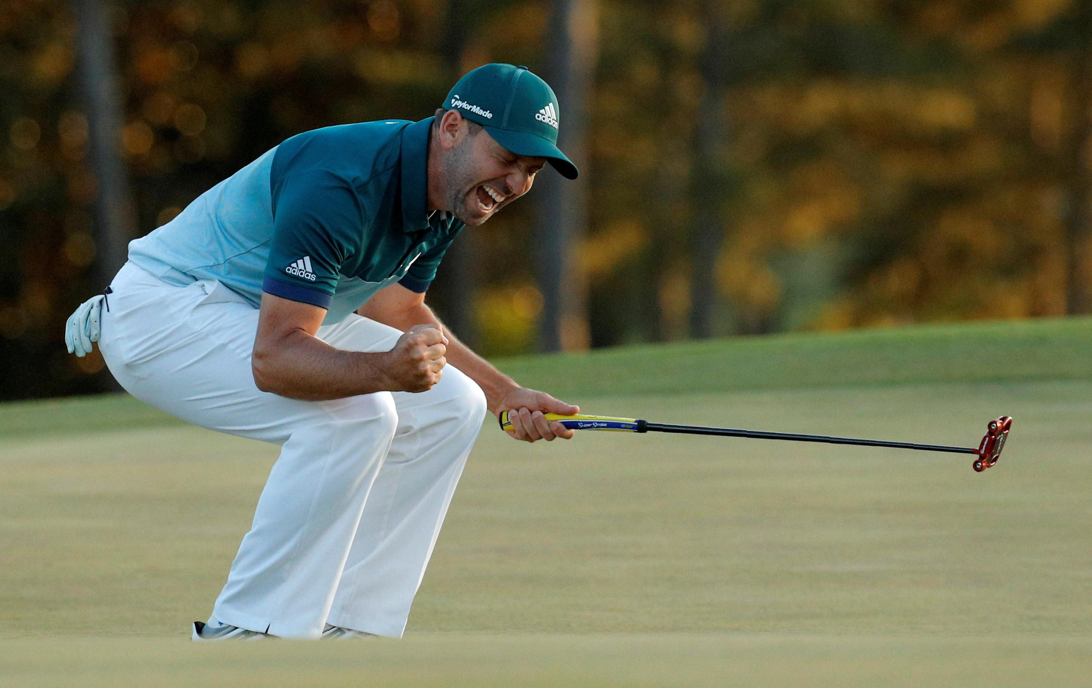Garcia was delighted when his audacious effort at the 13th hole paid off