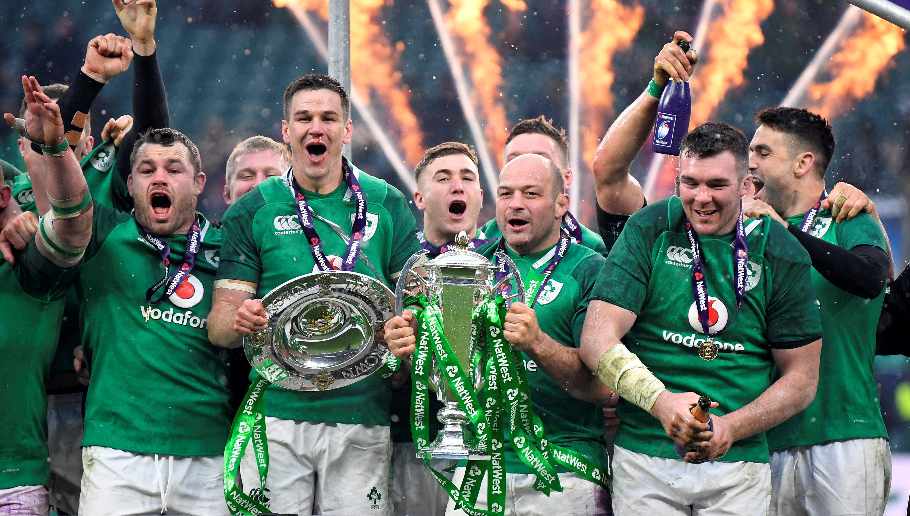 Rory Best with the Six Nations trophy as Ireland celebrate a brilliant Grand Slam