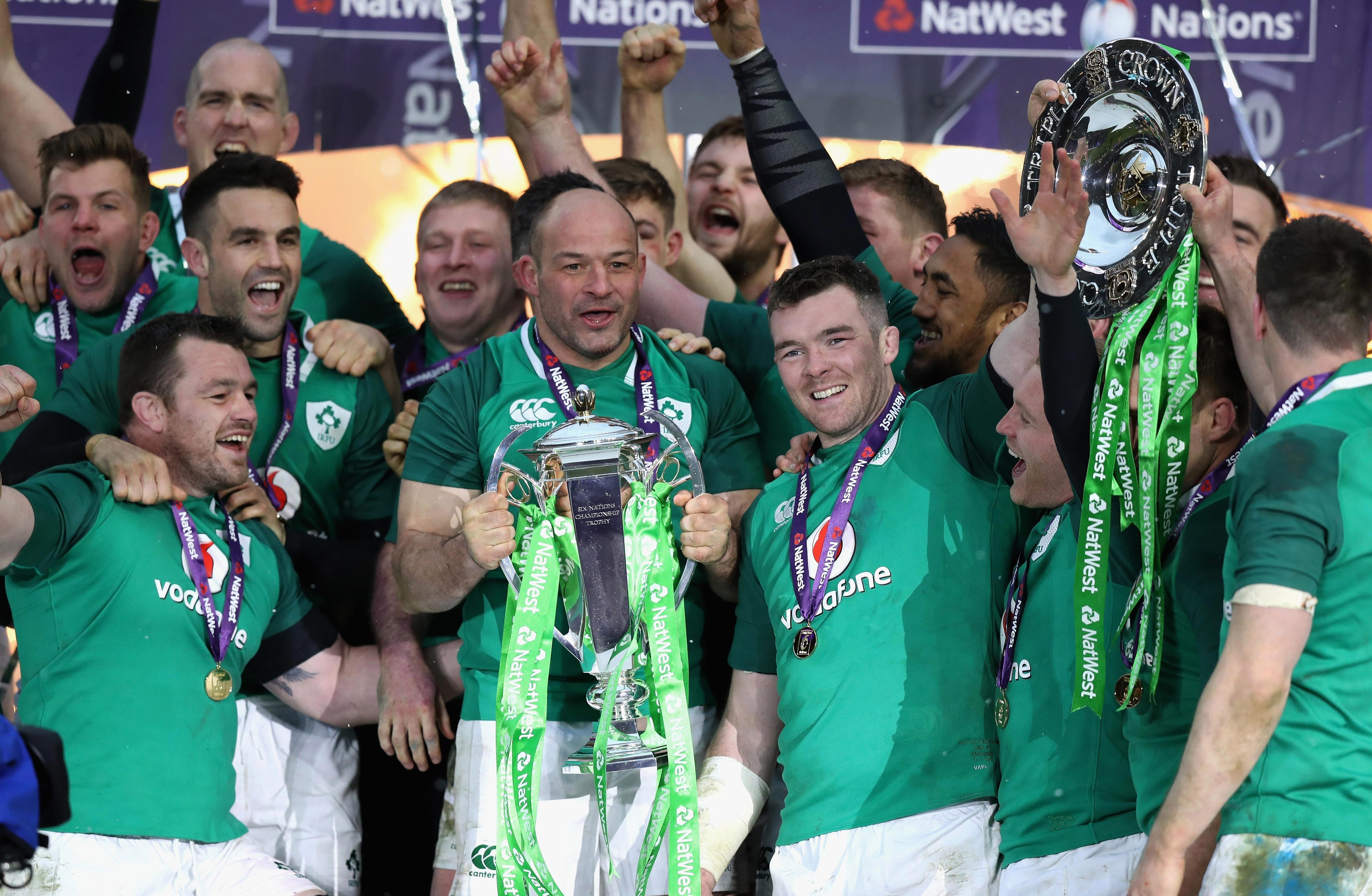 Ireland celebrate after winning only their third ever Grand Slam with a fine win