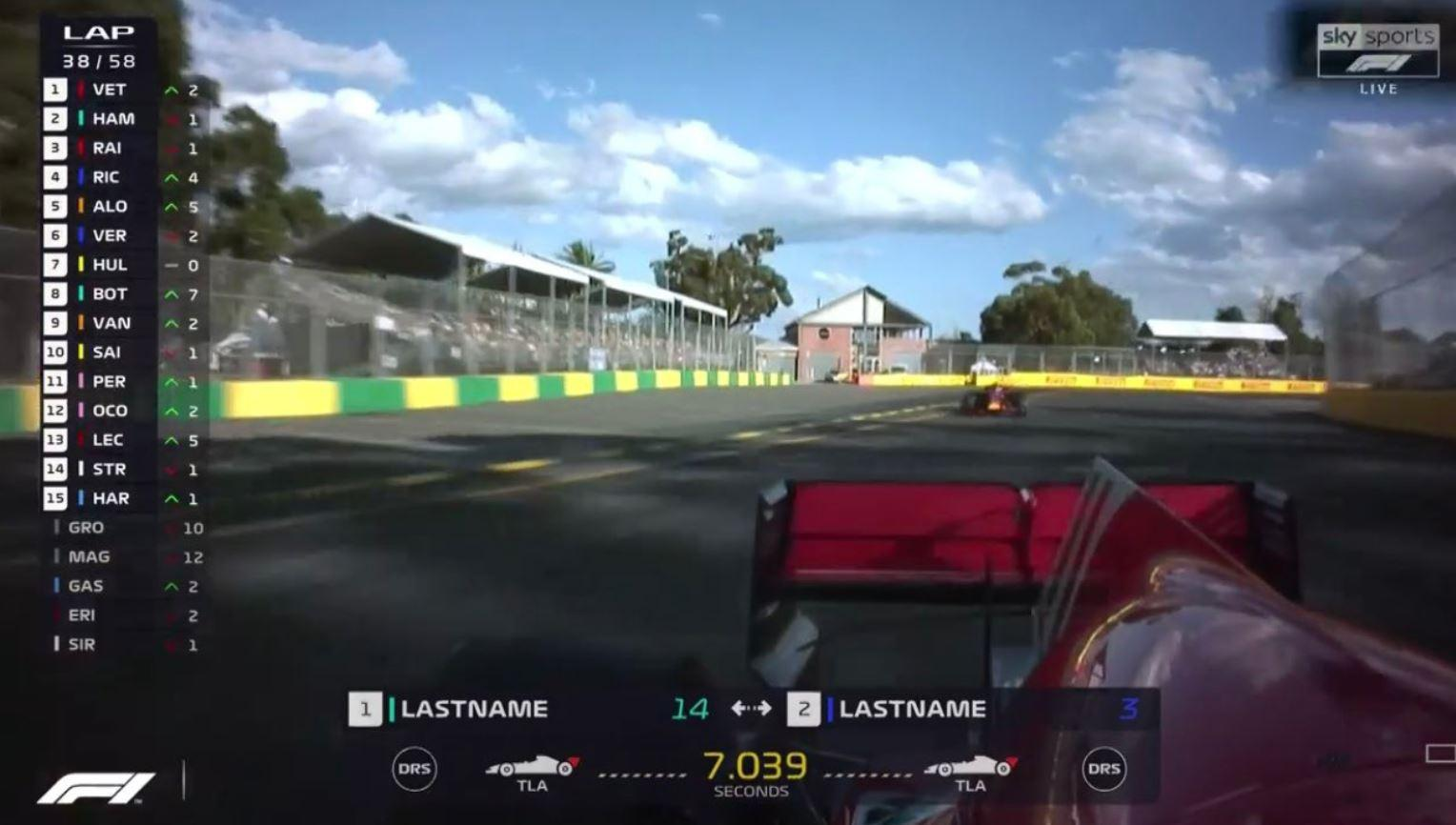 'Lastname' took on 'Lastname' at the Australian GP... at least, so said the graphics
