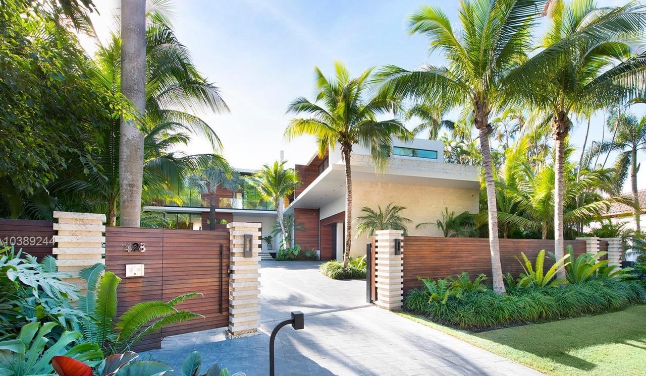 Wooden gates make this pad extra exclusive on one of Miami's most sought-after property spots