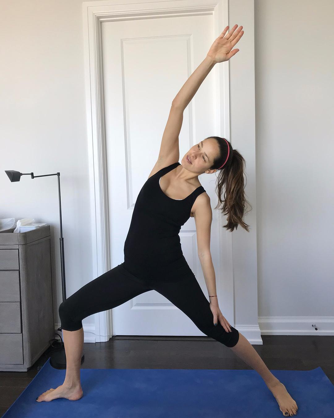 Ana Ivanovic does a yoga stretch just weeks after giving birth to son Luka