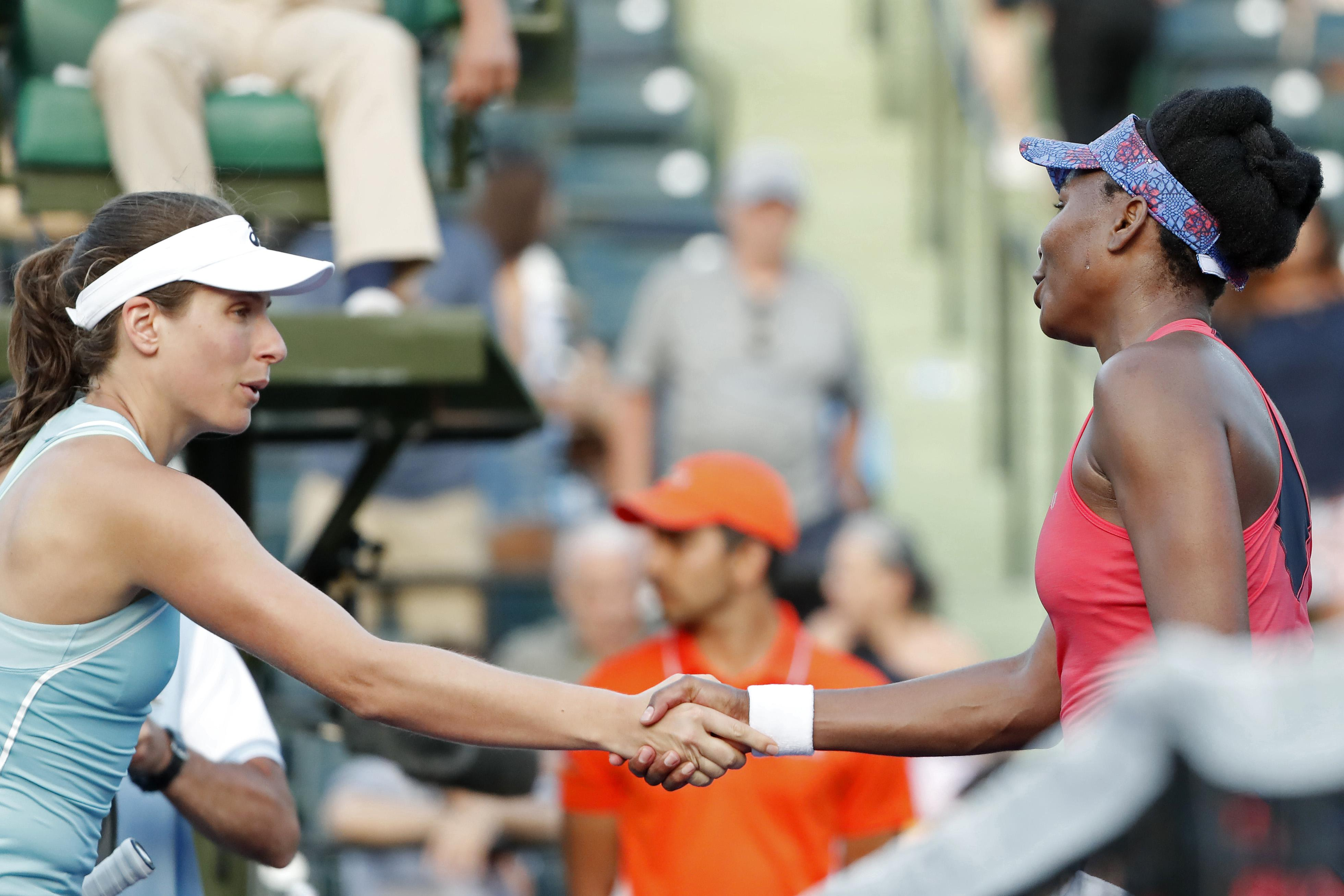 Jo Konta failed to get revenge on Venus Williams for her Wimbledon defeat