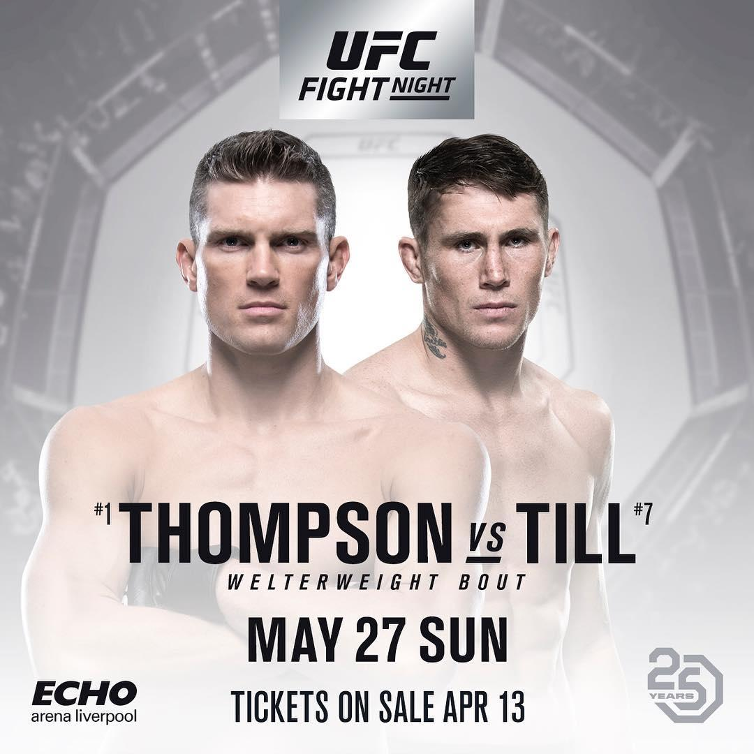 Darren Till will put his undefeated record on the line against Stephen Thompson on May 27