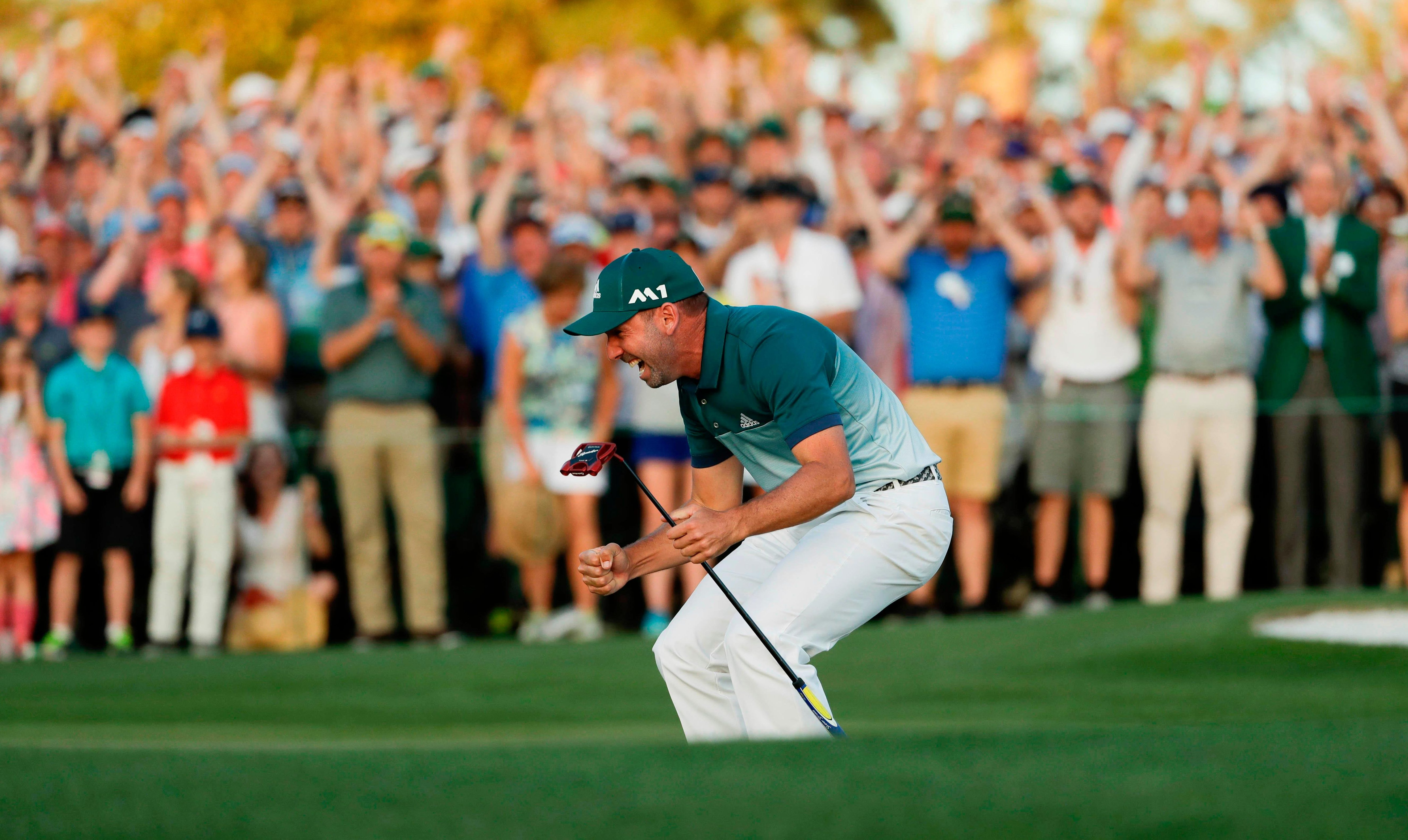 Sergio Garcia celebrates his dramatic victory at Augusta last year