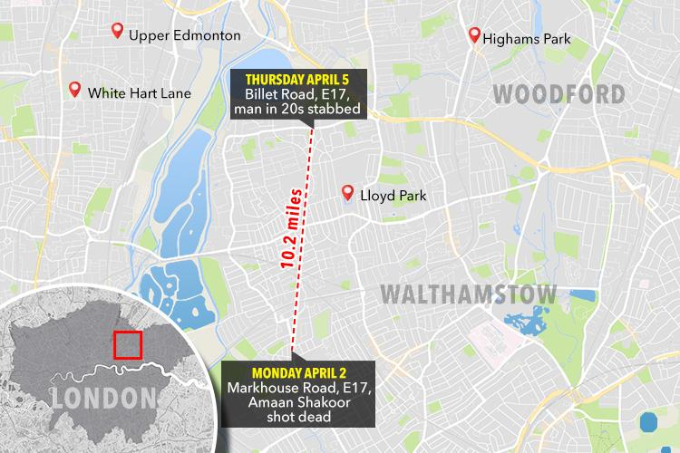 The man was stabbed in Walthamstow, not far from the scene of Amaan Shakoor's murder