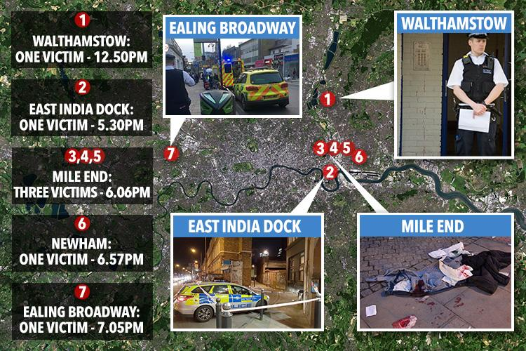 London saw seven stabbings yesterday - six in the space of just 90 minutes