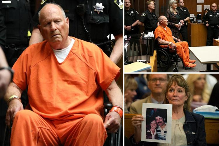 wheelchair killer poppy high chair seat cover dazed golden state appears in packed courtroom shackled to as ex cop 72 charged with brutal slayings