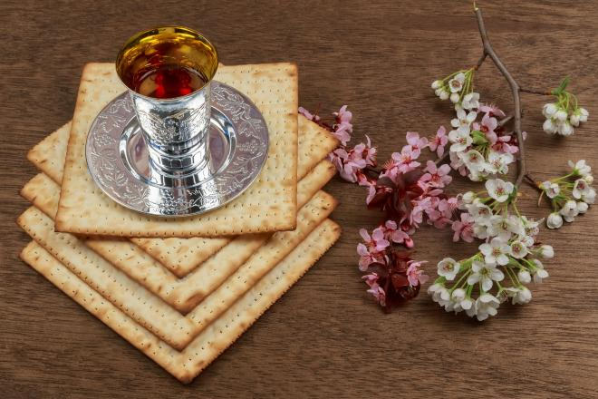 Passover is celebrated with wine and matzo, unleavened bread