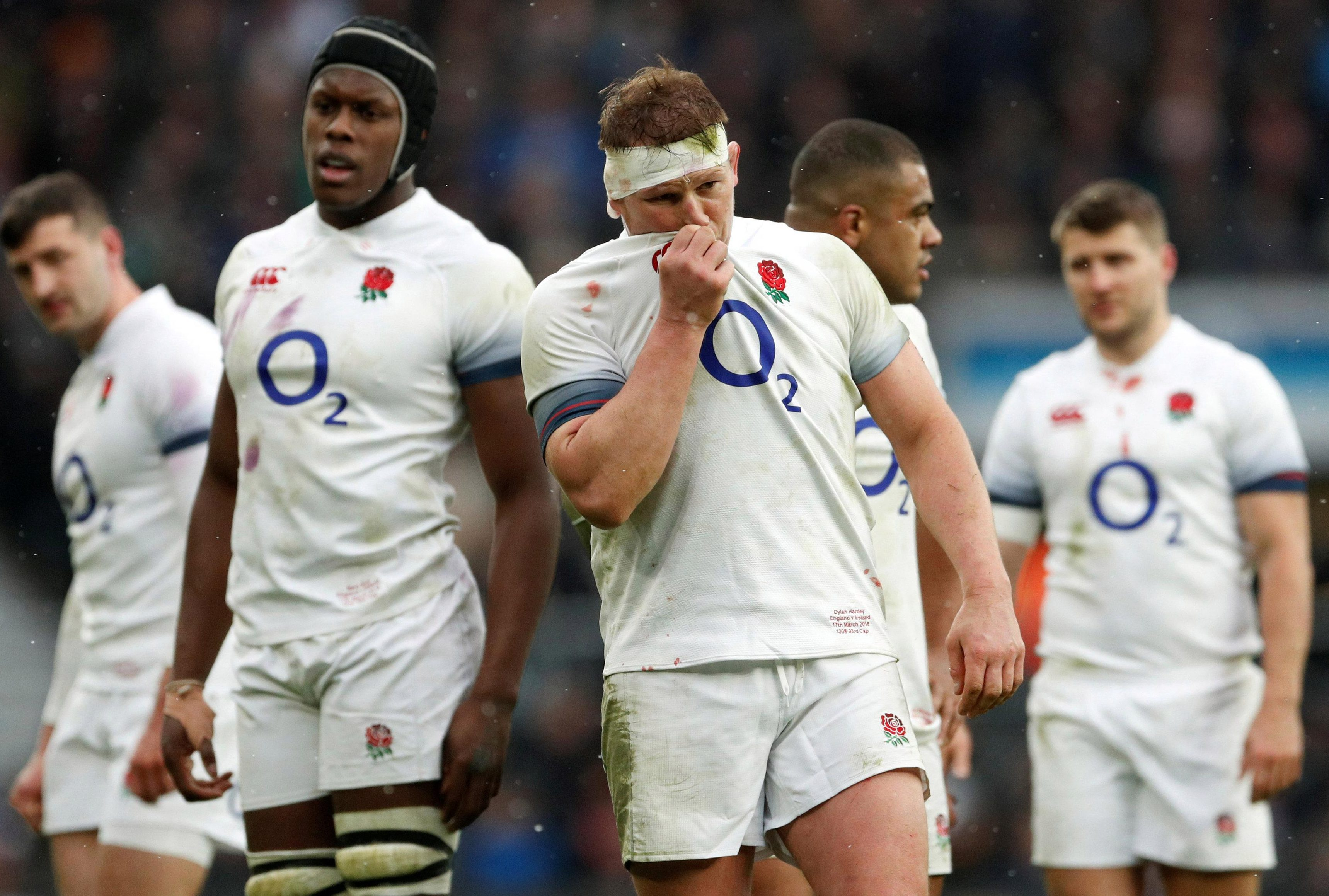 England and Northampton Saints star Dylan Hartley, centre, admits he would be worried if he suffered another head injury