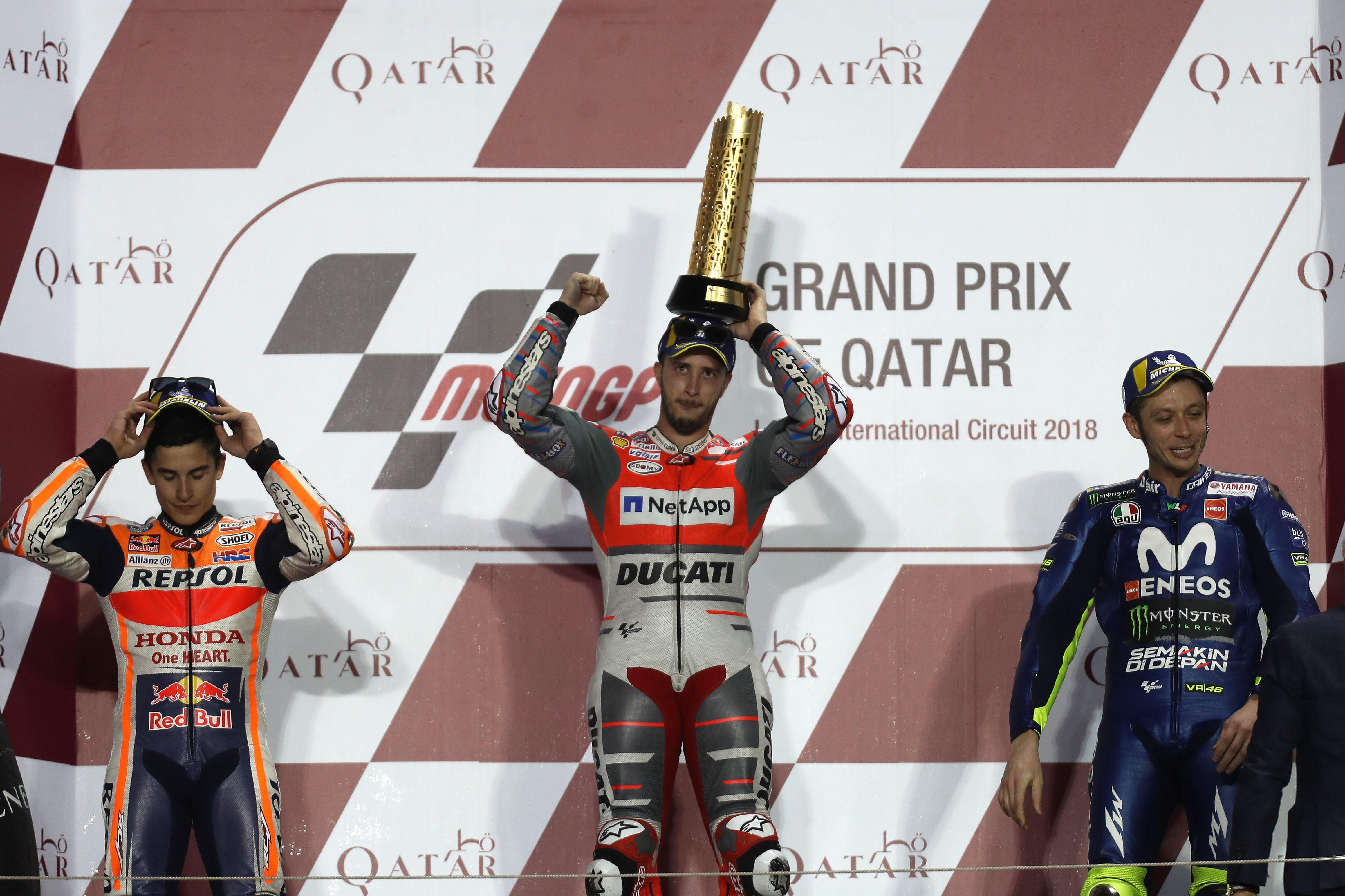 Andrea Dovizioso edged out Marc Marquez to win in Qatar
