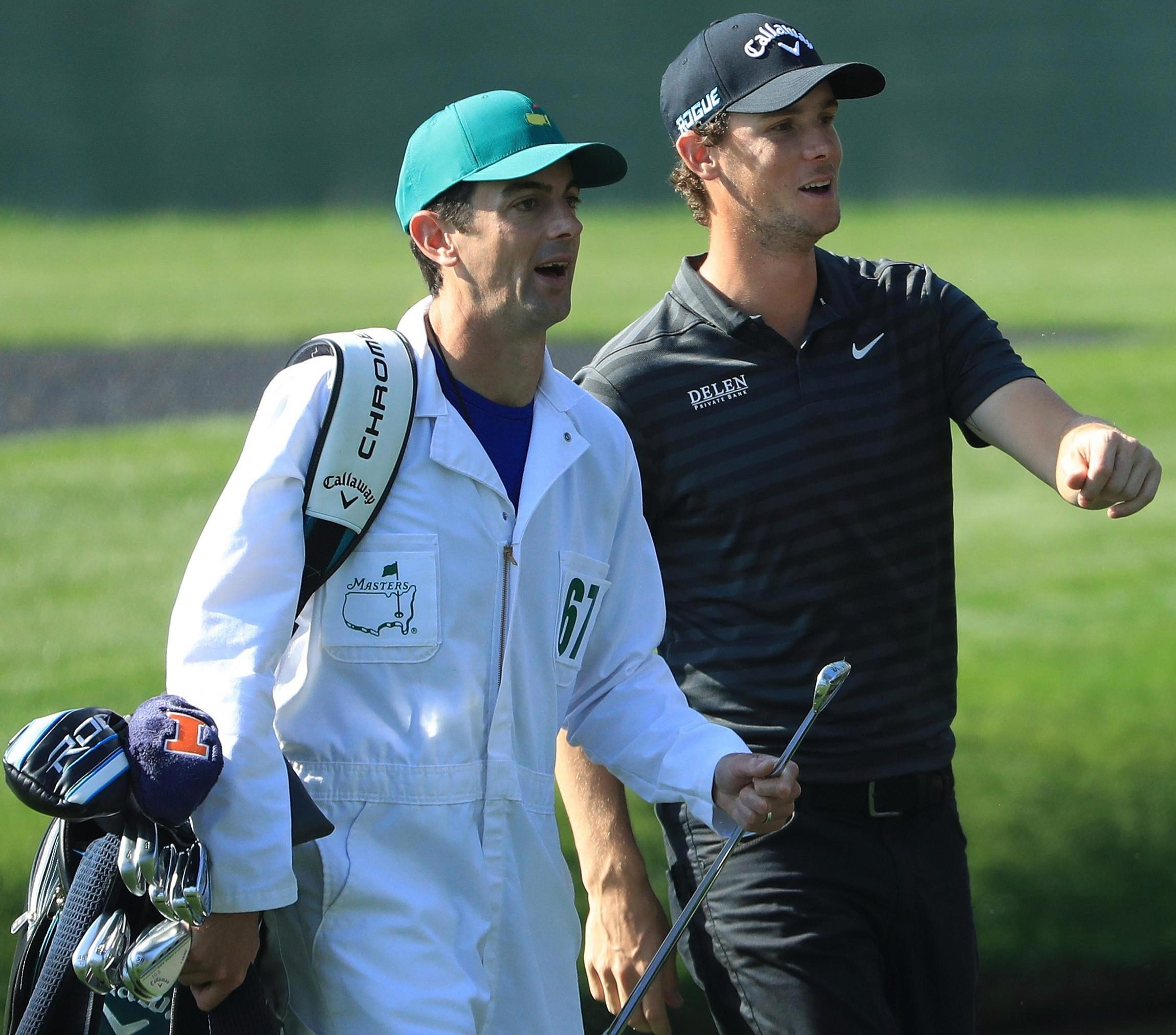 Pieters weighs things up with caddie Adam Morrow during a practice round