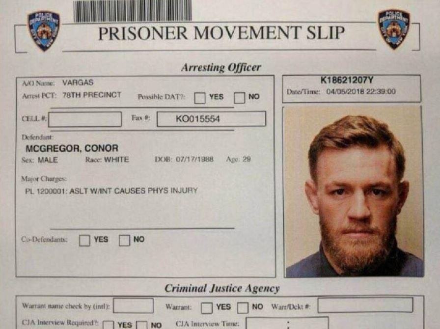 This image purporting to show McGregor's 'prisoner movement slip' is being shared online among journalists and celebrities, including Piers Morgan. However, its authenticity has not been verified