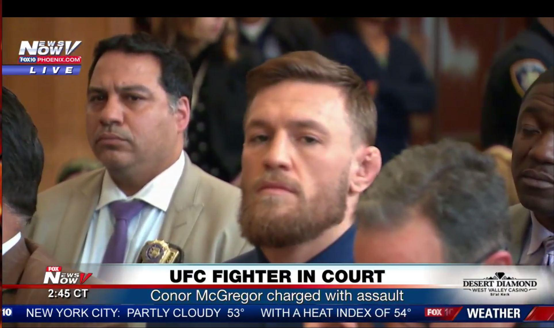 McGregor was charged with three counts of assault and one of criminal mischief