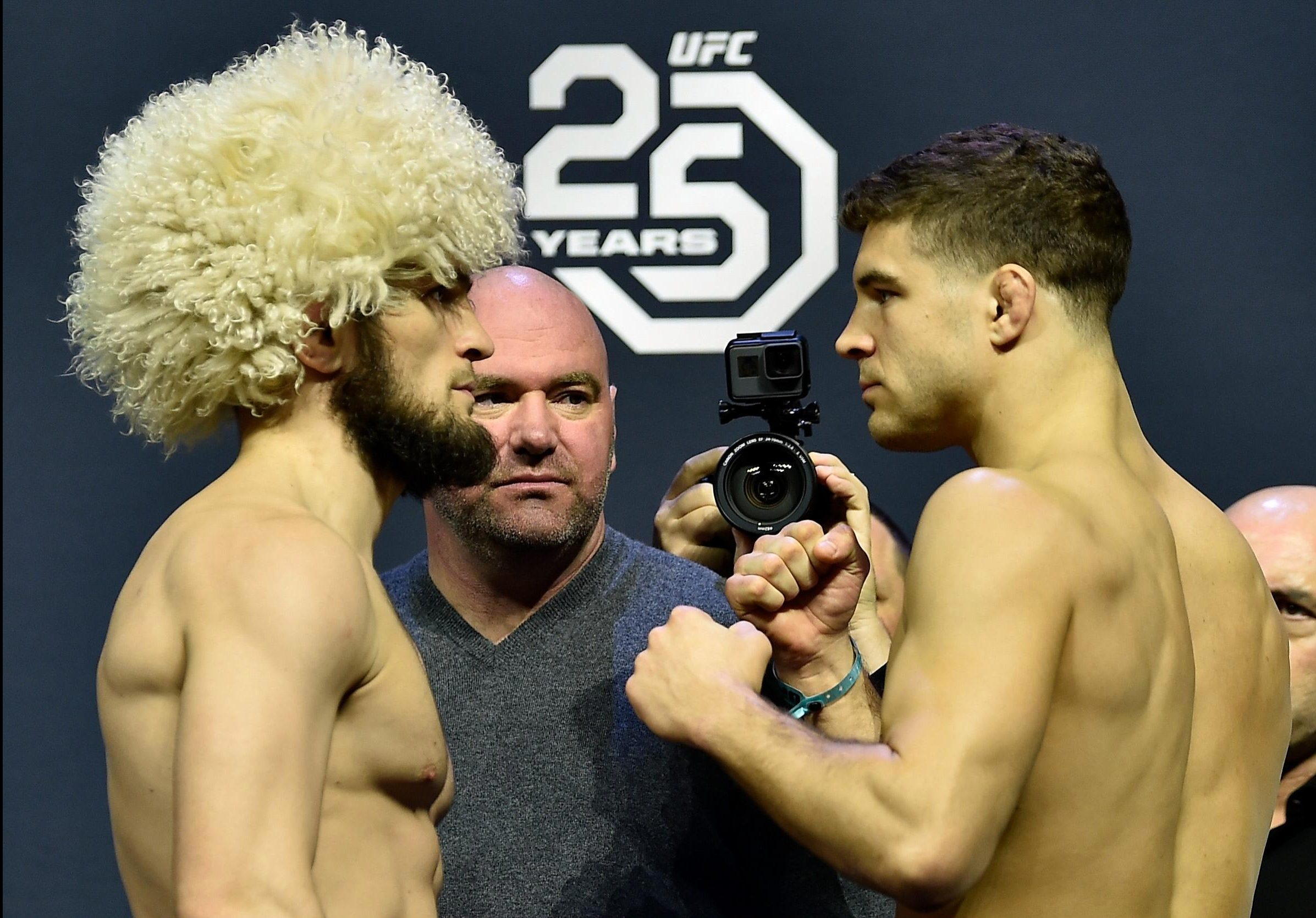 Khabib Nurmagomedov of Russia and Al Iaquinta face off during the UFC 223 weigh-in
