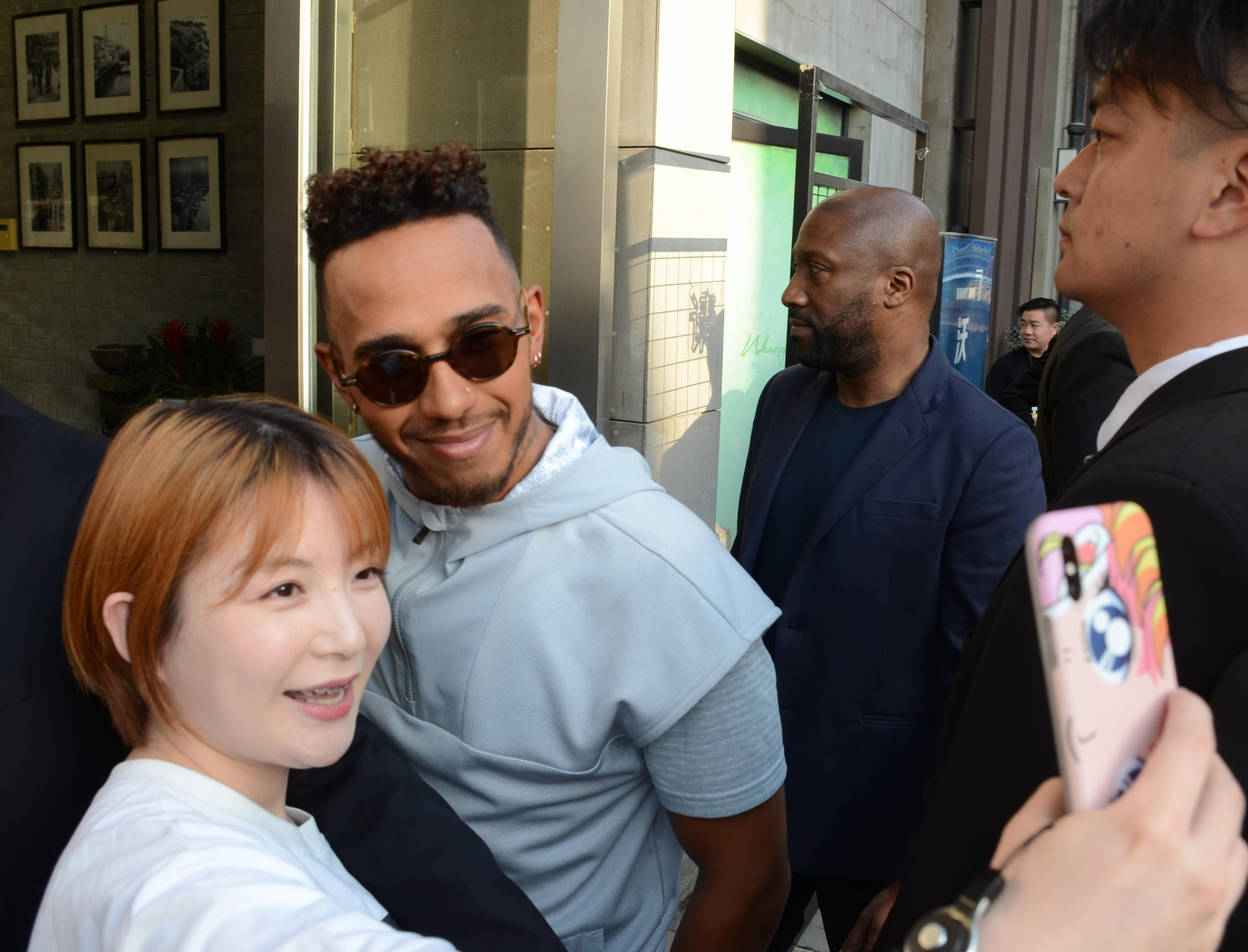 The Brit racer was welcomed by a crowd of fans in China