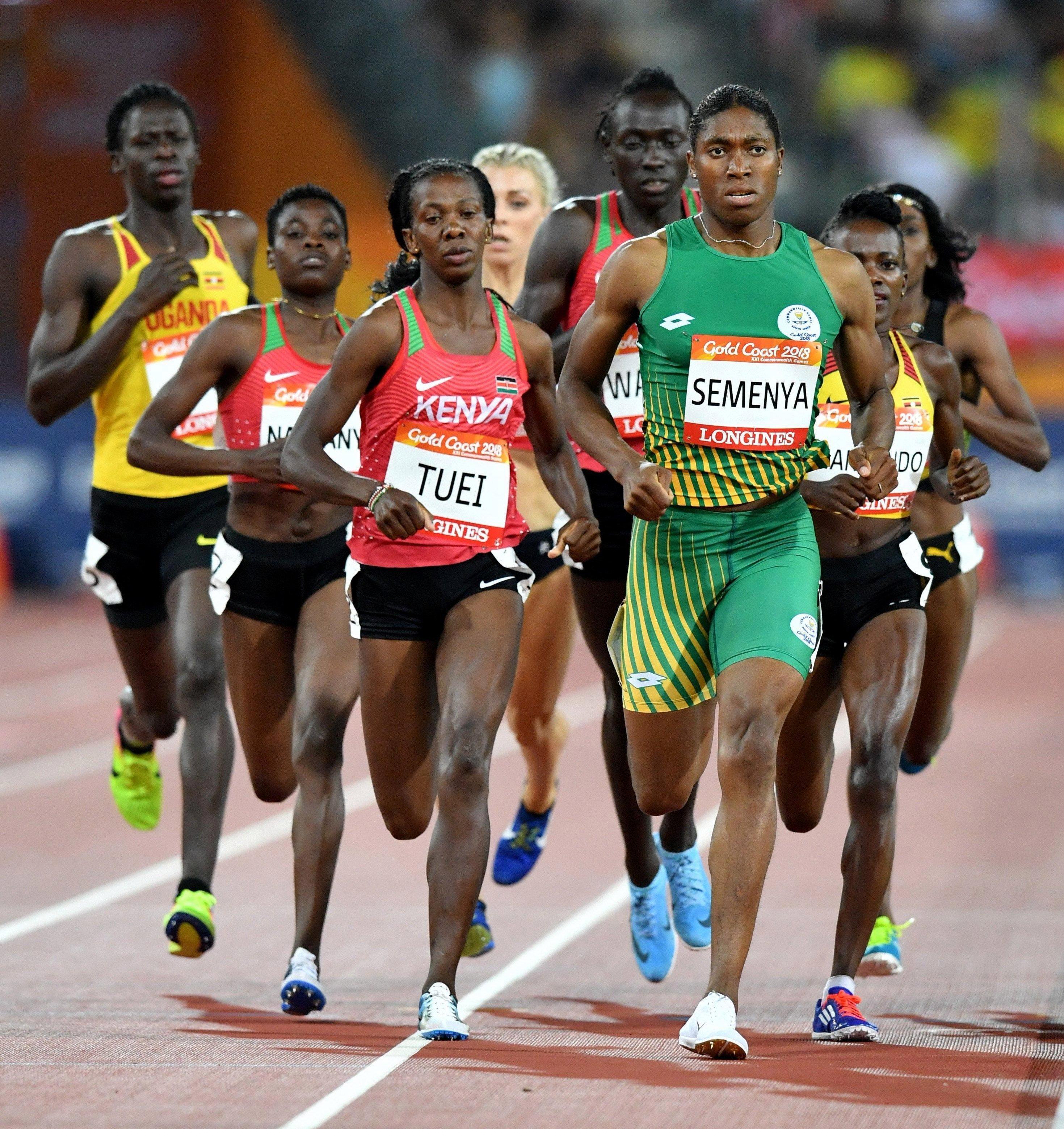 Semenya often looks far bigger than her rivals when she arrives at races
