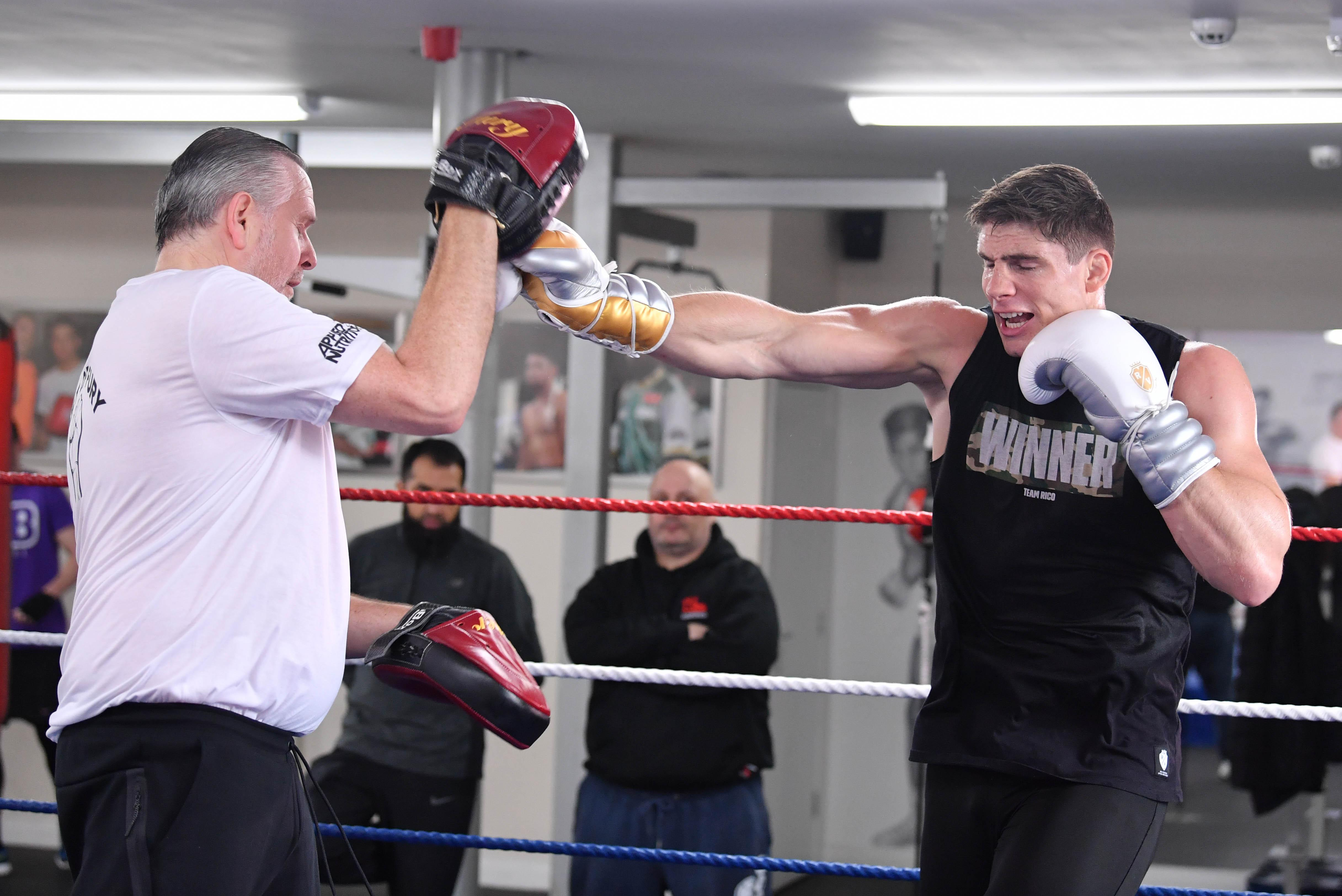 Rico Verhoeven trains with Peter Fury at the boxing coach's Bolton gym