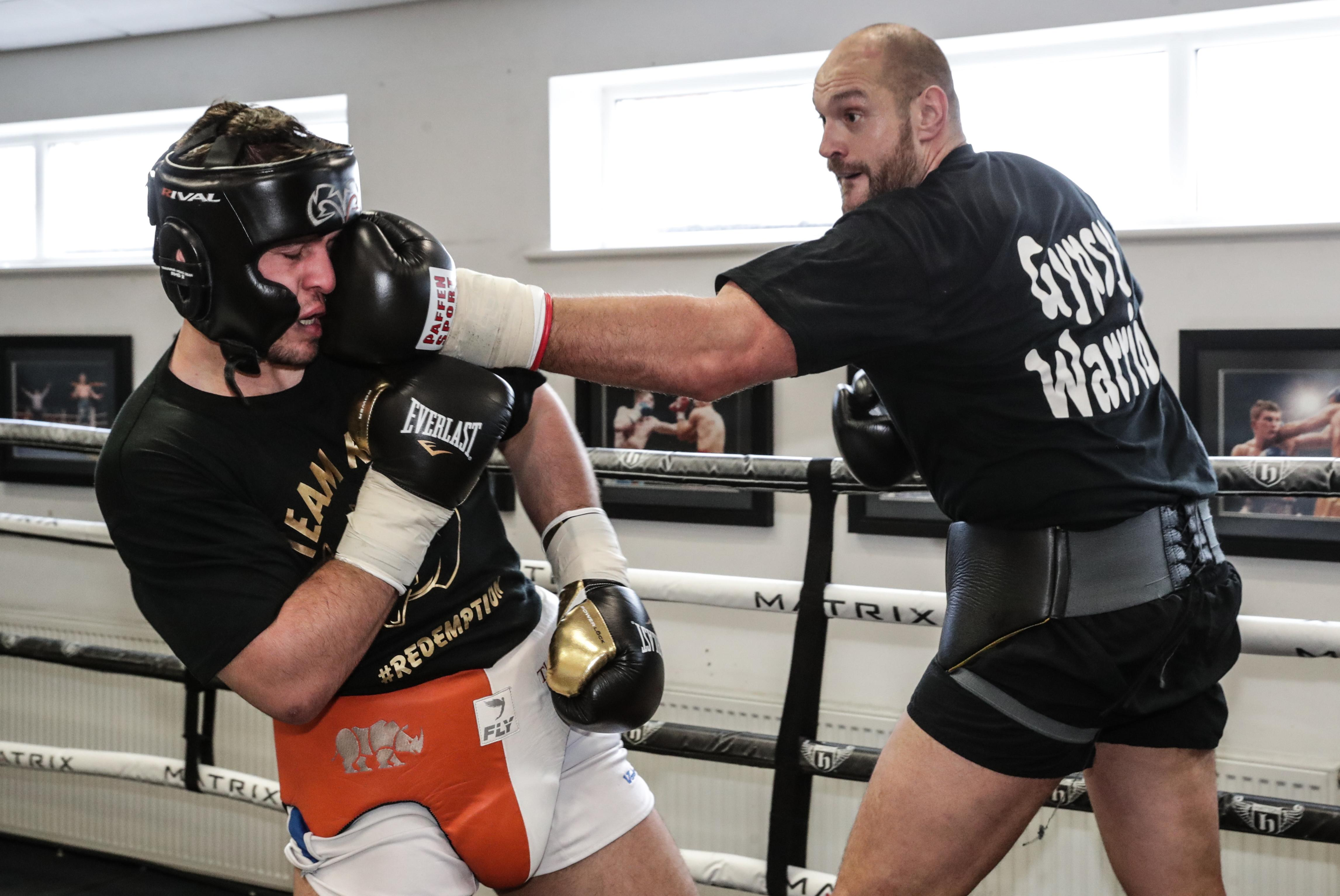 Tyson Fury lands one on fellow Brit David Allen as he continues his sparring ahead of his big comeback