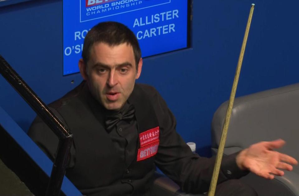 O'Sullivan then sat back in his seat and said: 'That's for being Mr Angry'