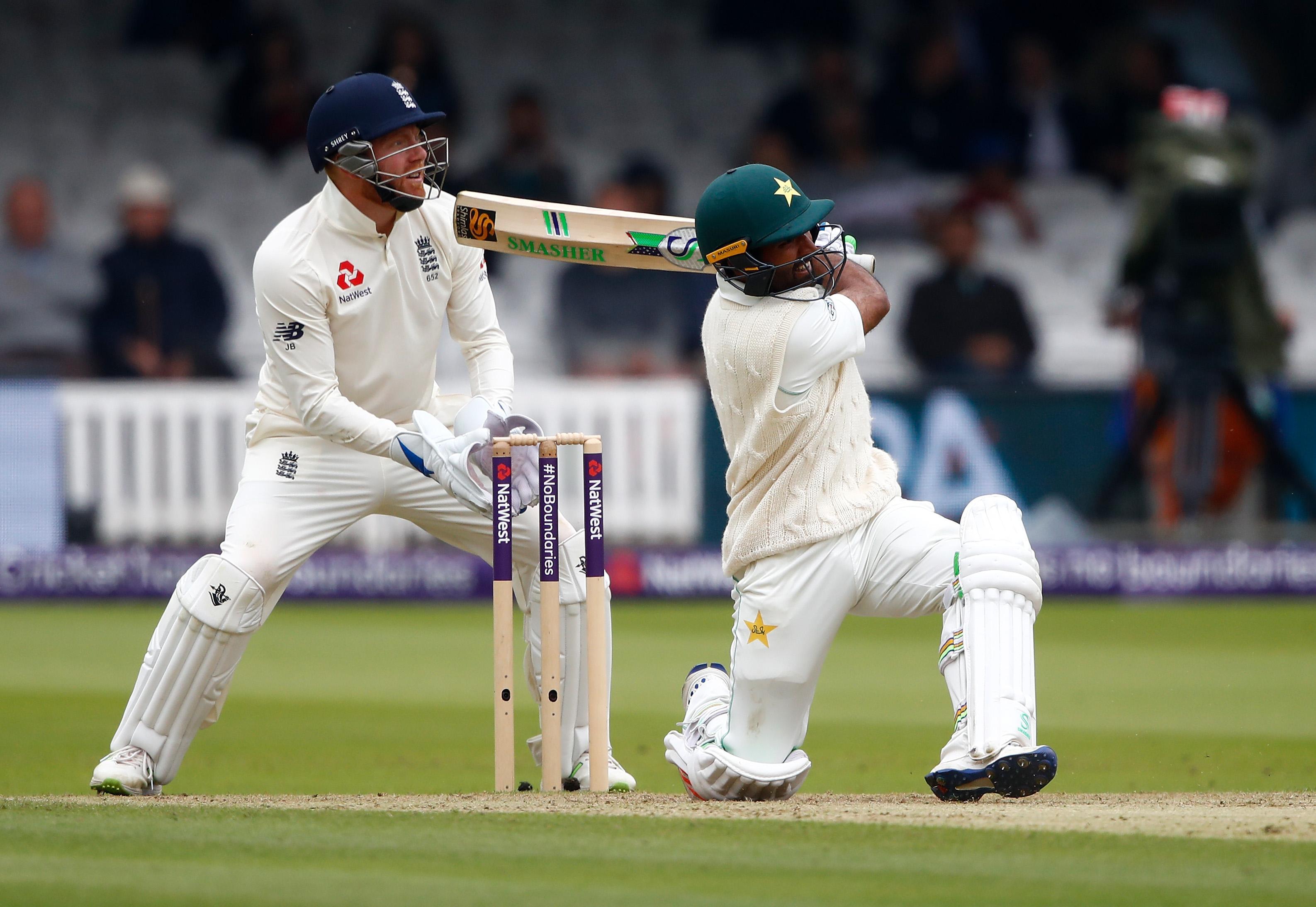 Asad Shafiq hits a six on his way to a half-century