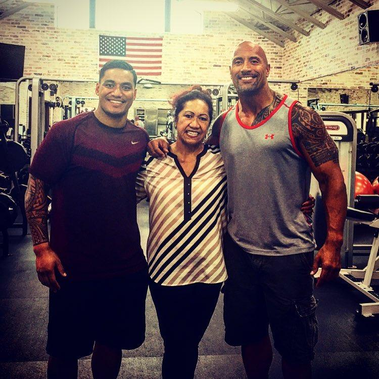 Vaivai insists cousin Dwayne 'The Rock' Johnson, pictured with his mum Ata, is just plain old Dwayne to him