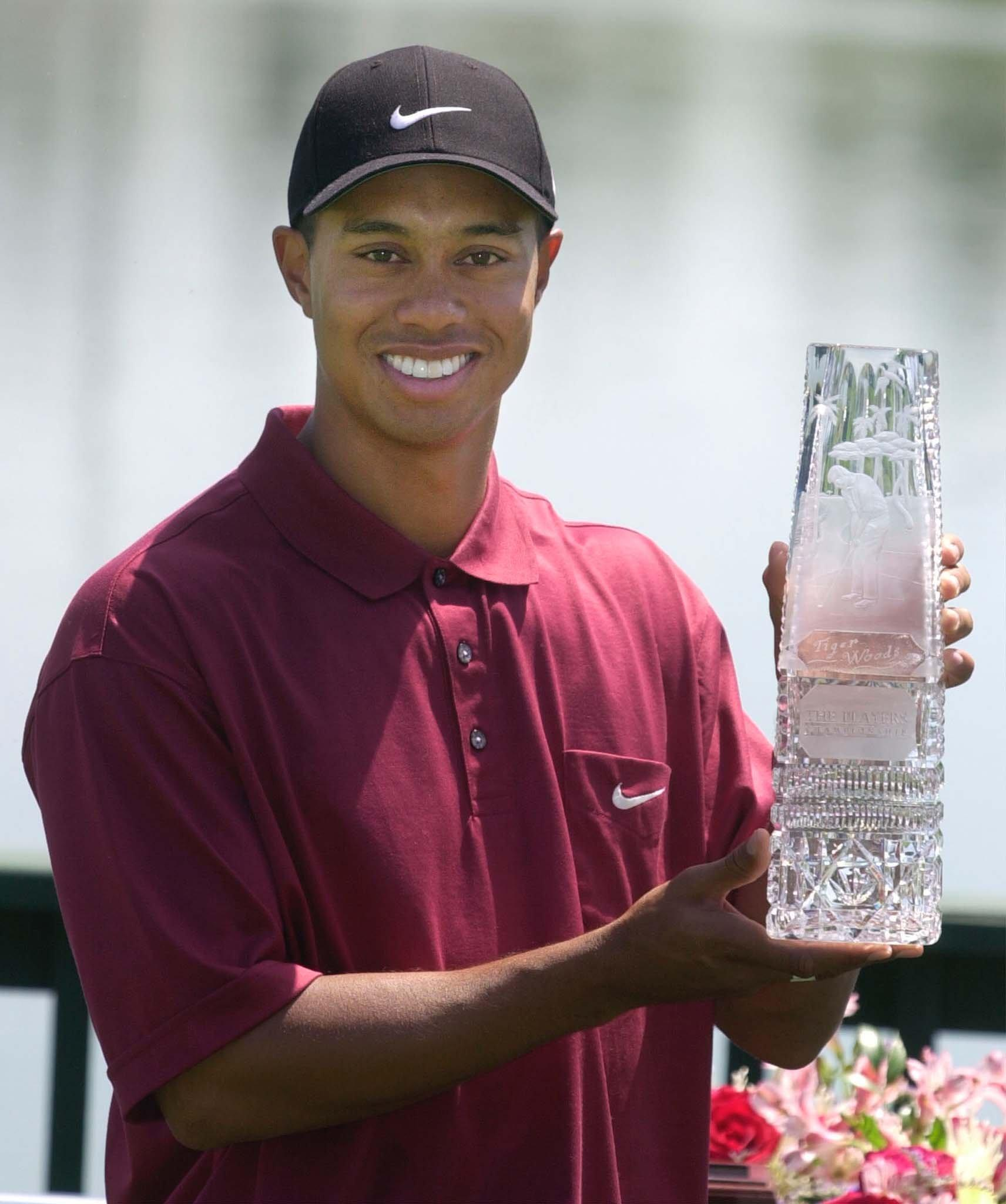 Tiger Woods with the 2001 Players trophy