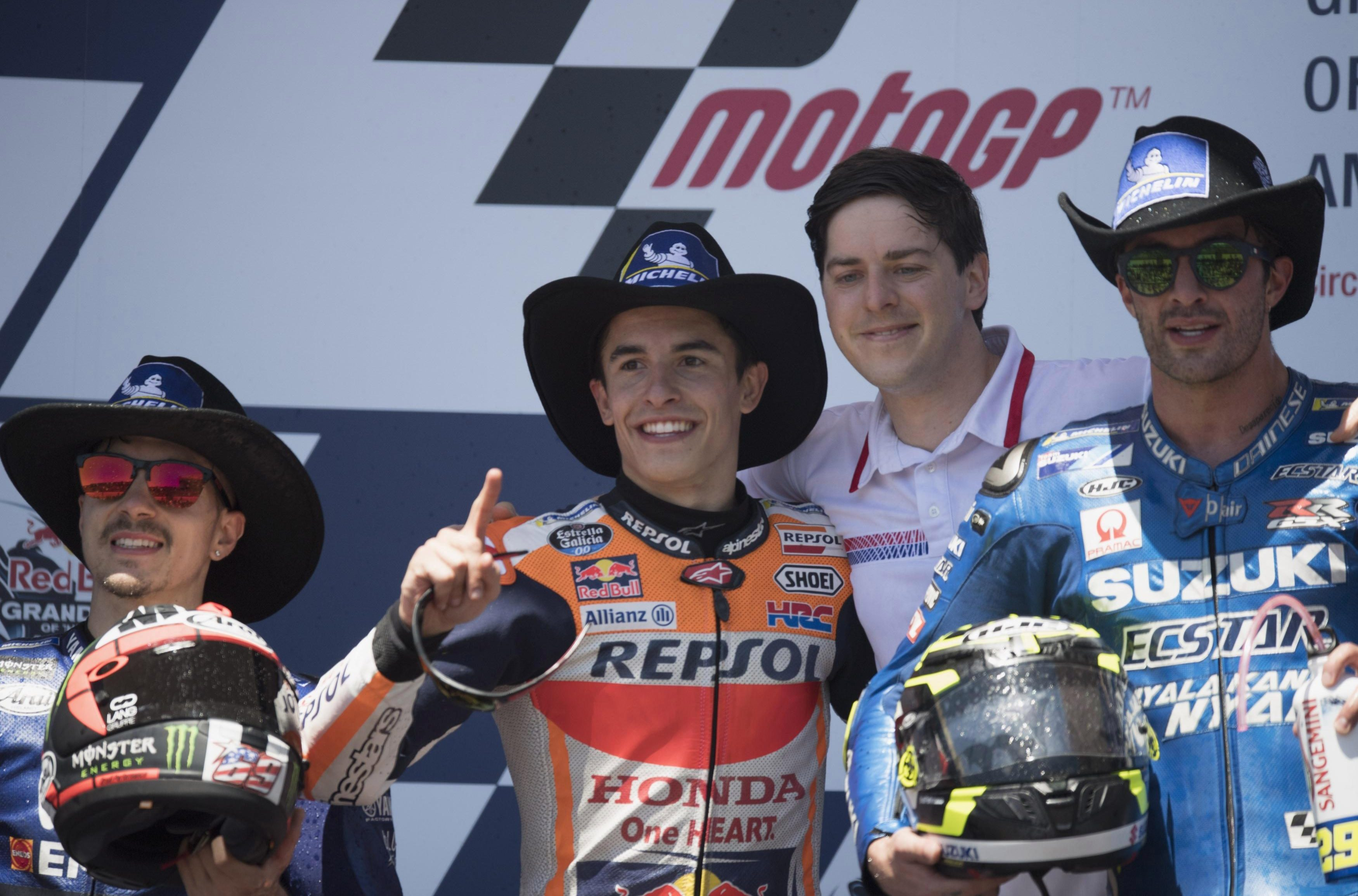 Marc Marquez (centre) was victorious at the Grand Prix of the Americas