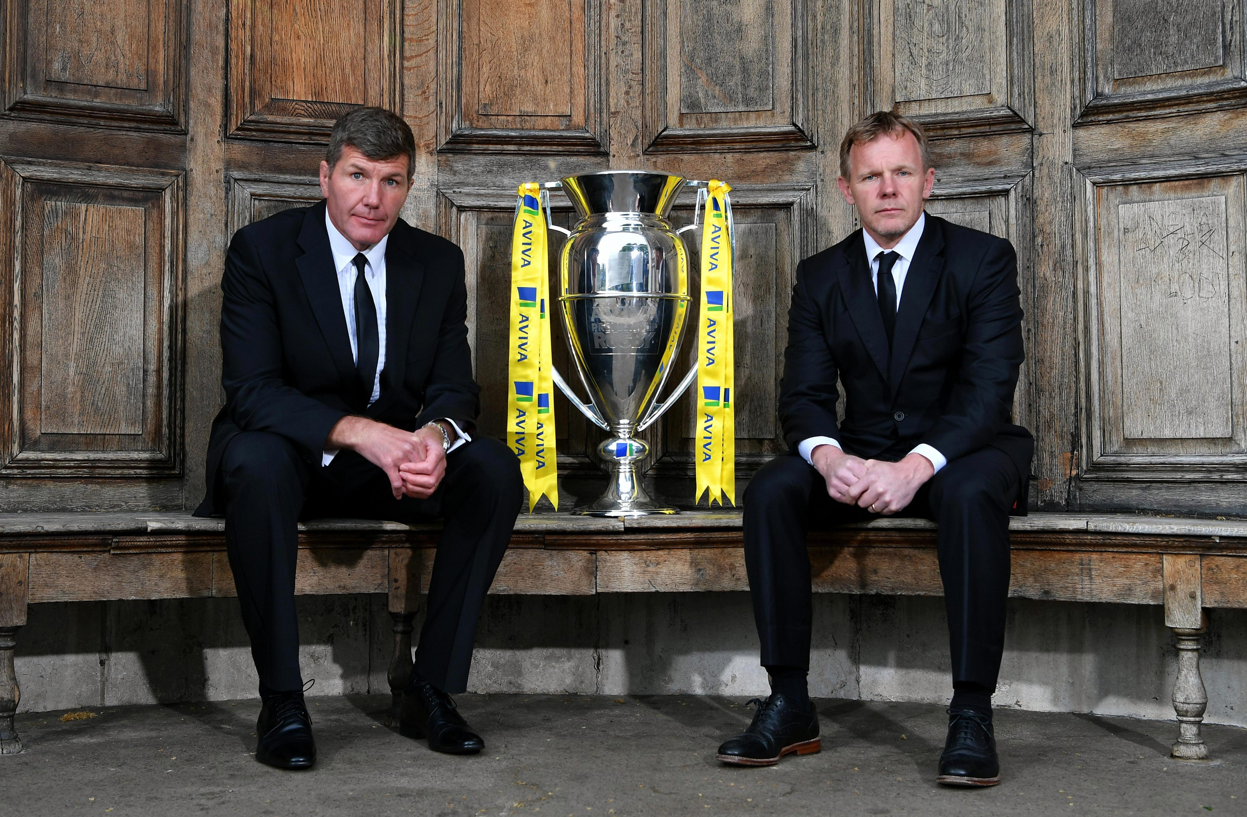 Rob Baxter of Exeter Chiefs (L) will go head-to-head with Mark McCall for the Premiership final trophy