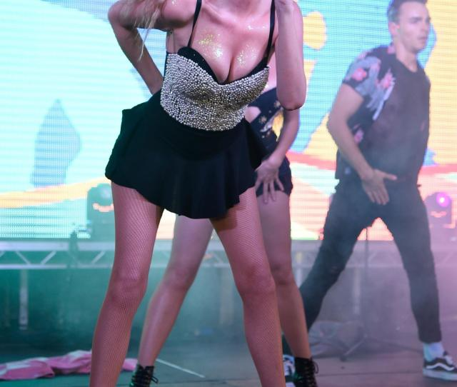 Nadine Showed Off Her Slender Figure In A Tiny Black Skirt That Revealed Her Black Frilly Knickers As She Danced