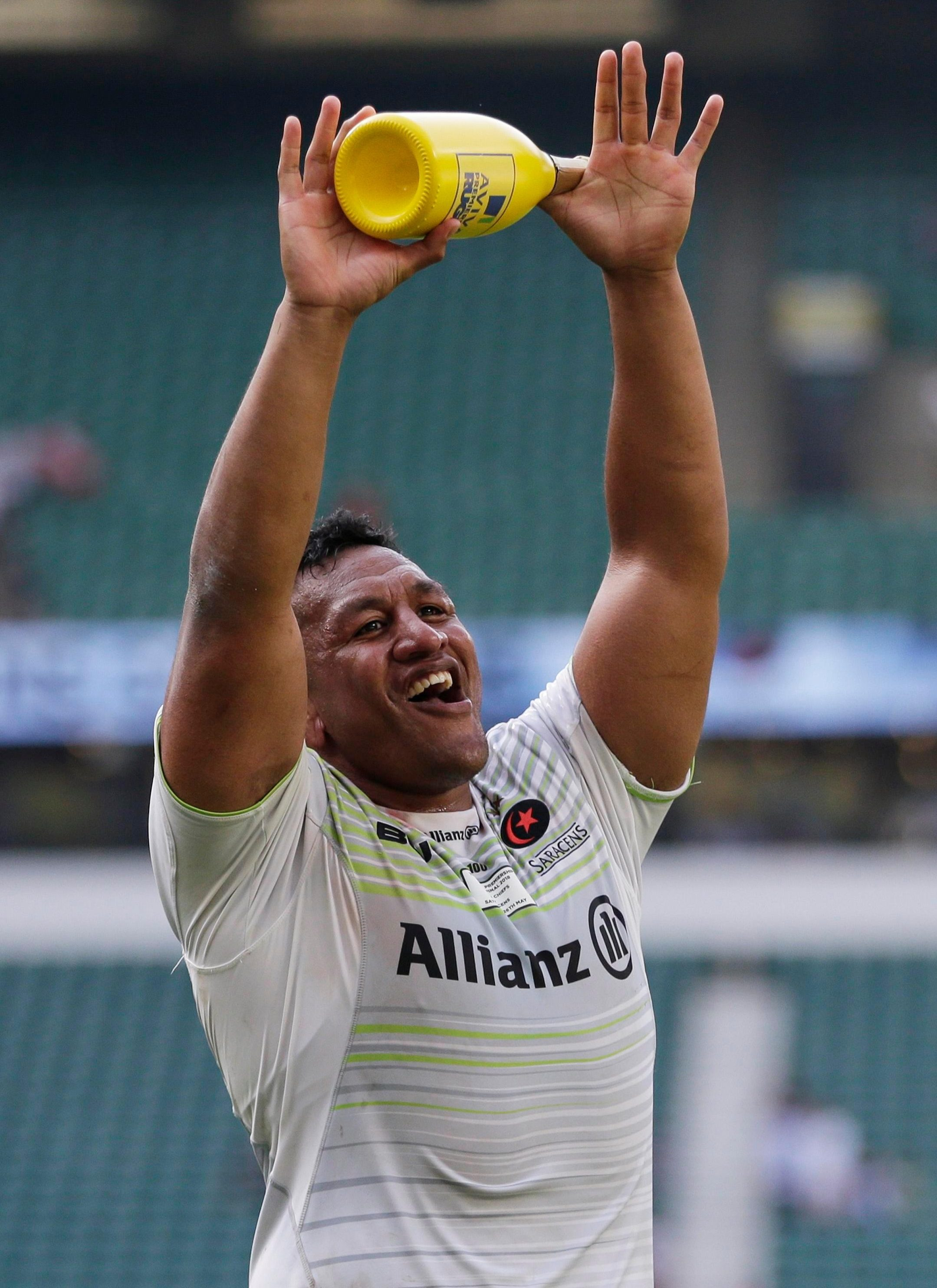 Mako Vunipola celebrates being crowned Man of the Match