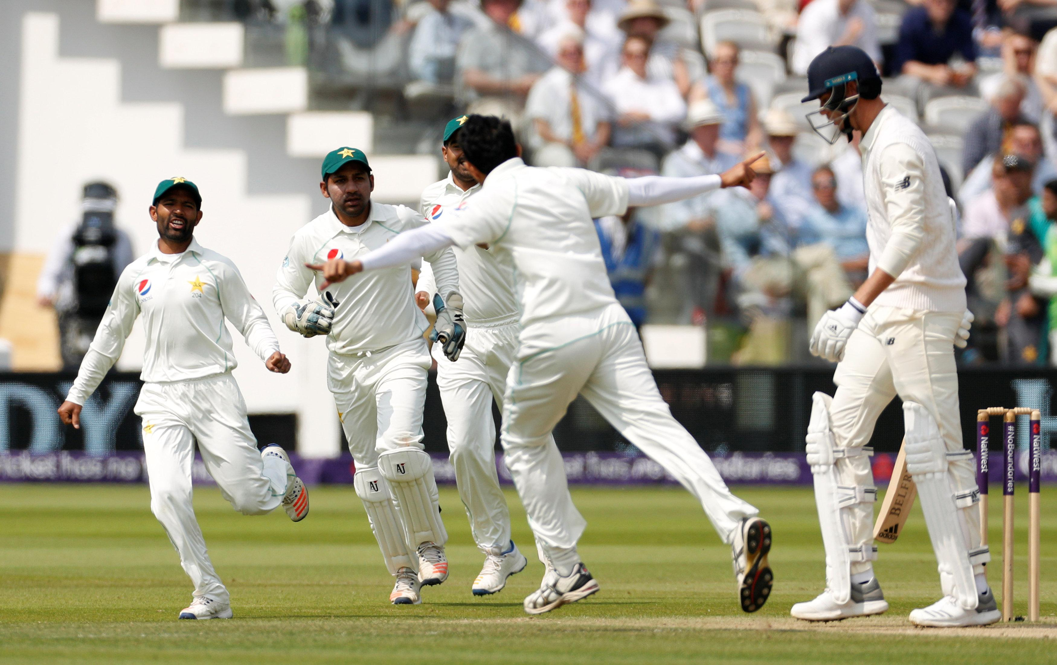 Pakistan's Sarfraz Ahmed celebrates as he dismisses England's Stuart Broad at Lord's