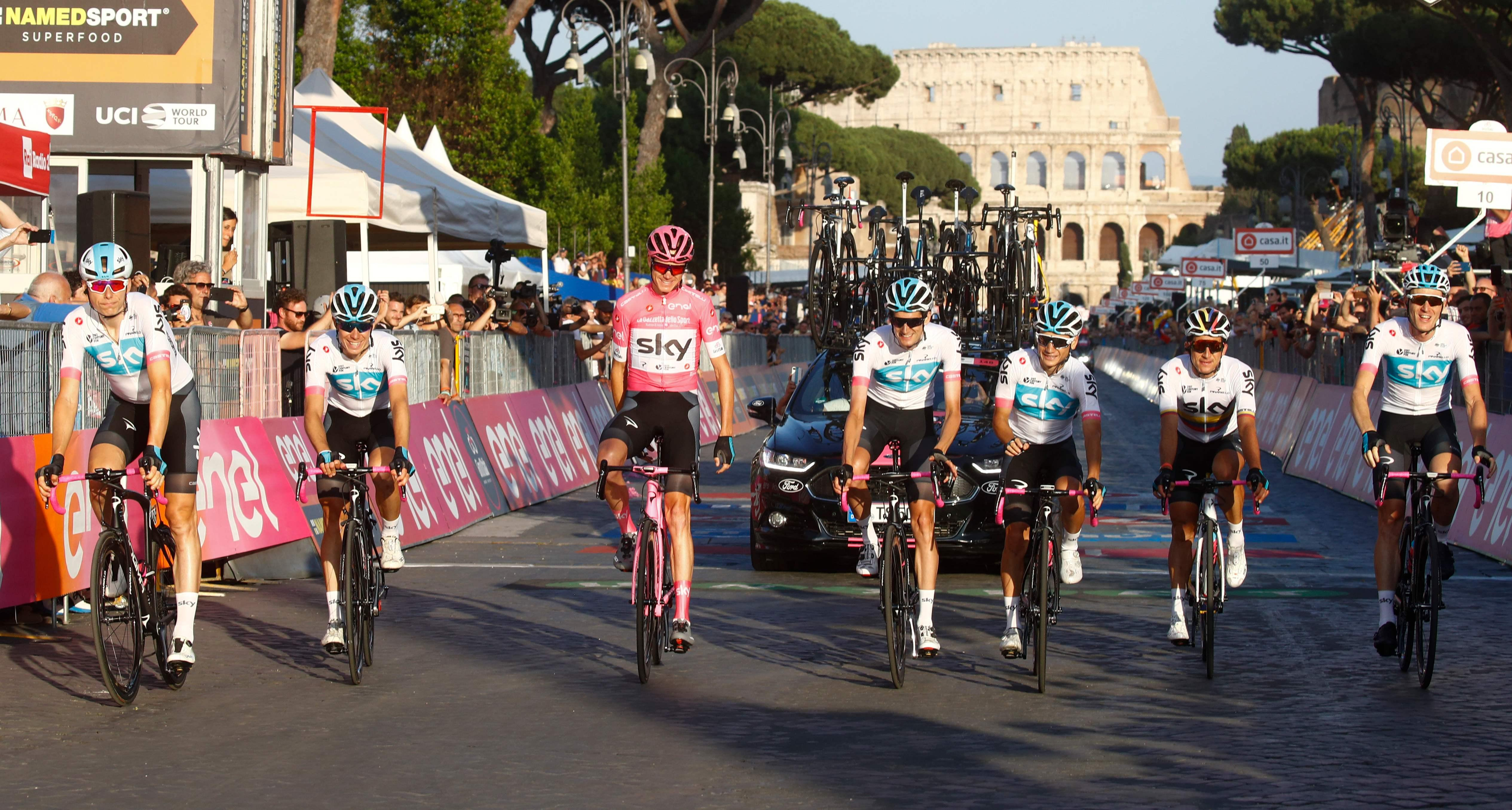 Chris Froome rides home in Rome to complete his Giro victory with his Team Sky team-mates