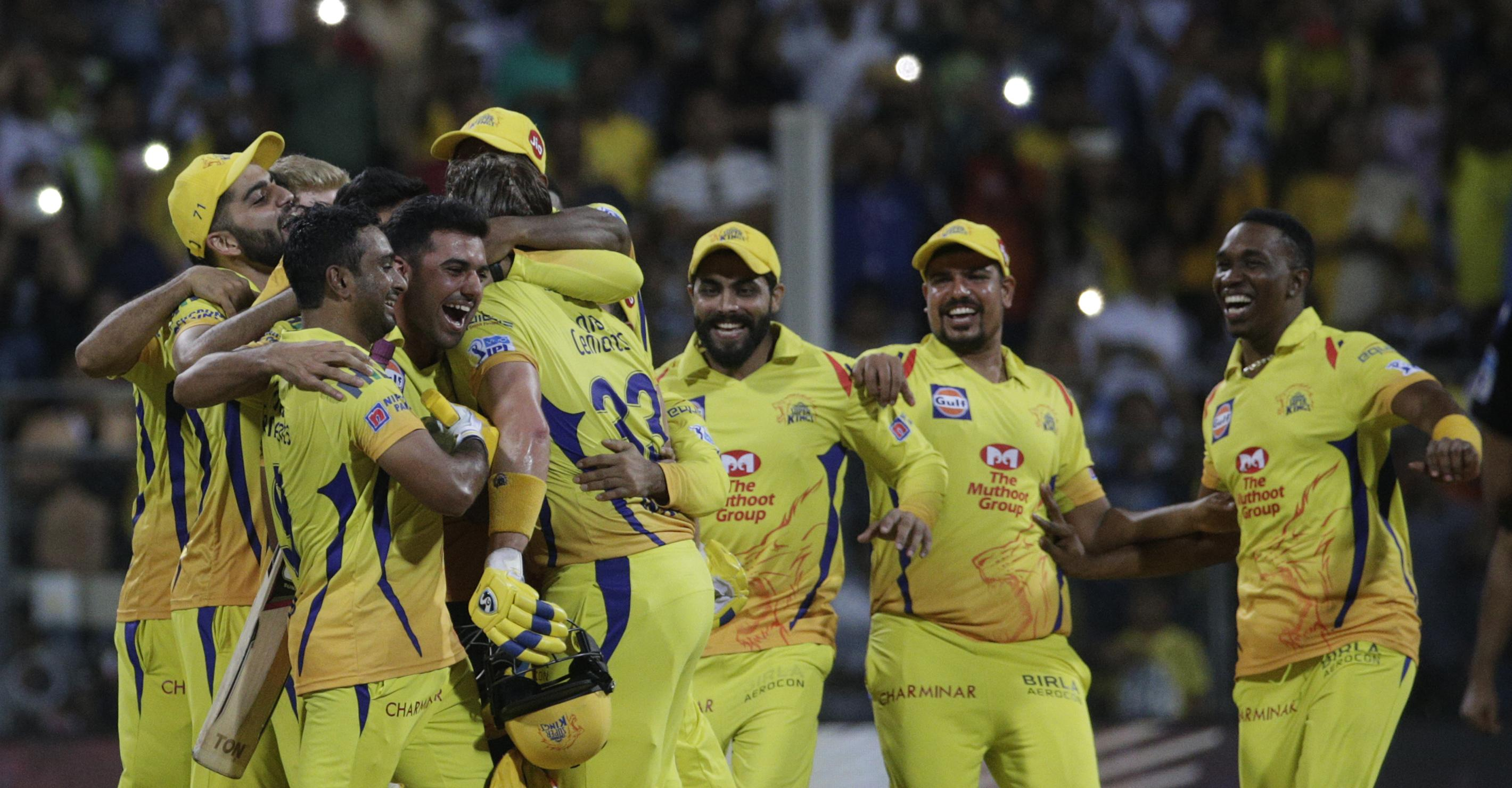 Chennai Super Kings won by eight wickets in their first tournament back since receiving a two-year ban