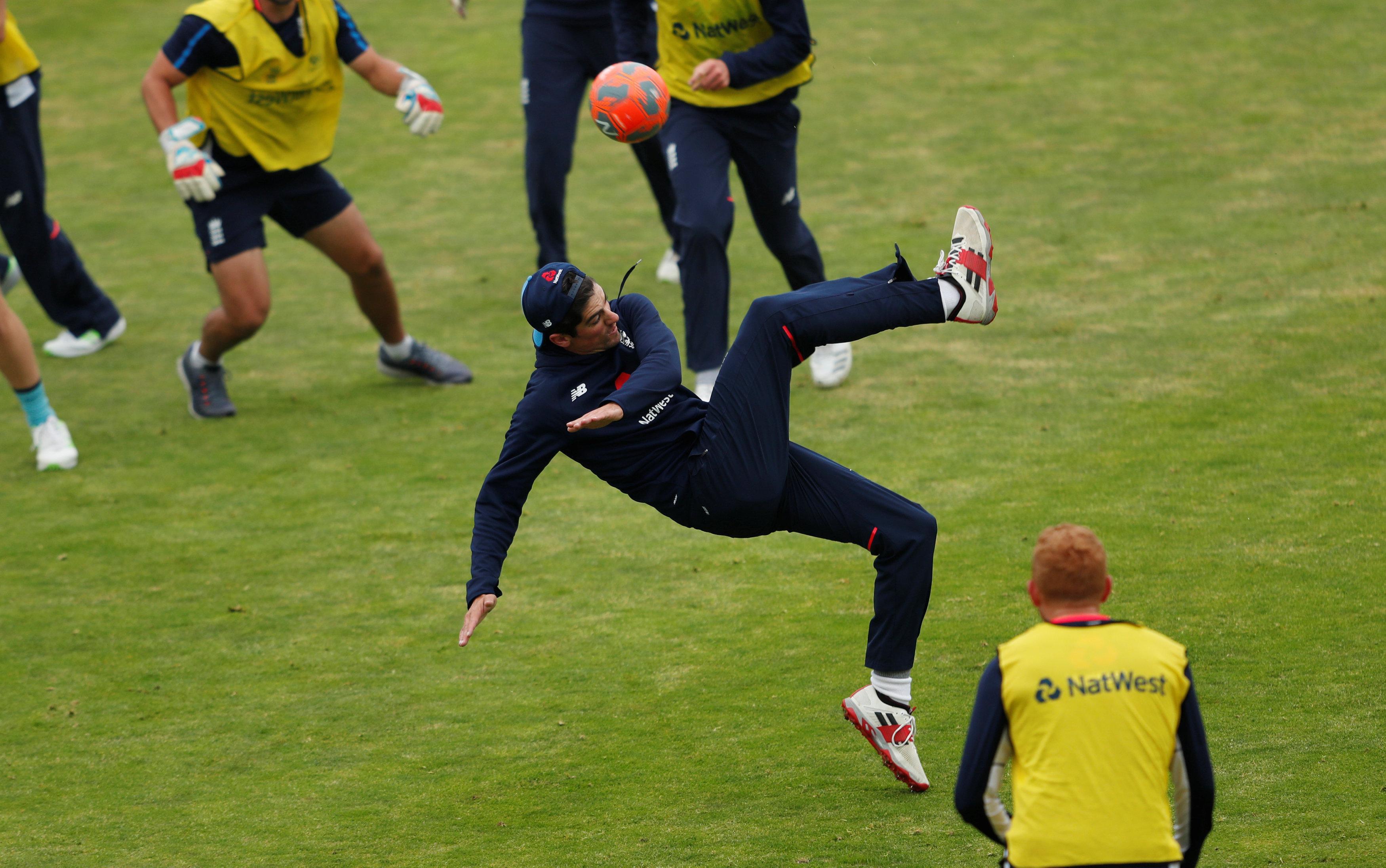 Opening batsman Alastair Cook also got in on the act in England training