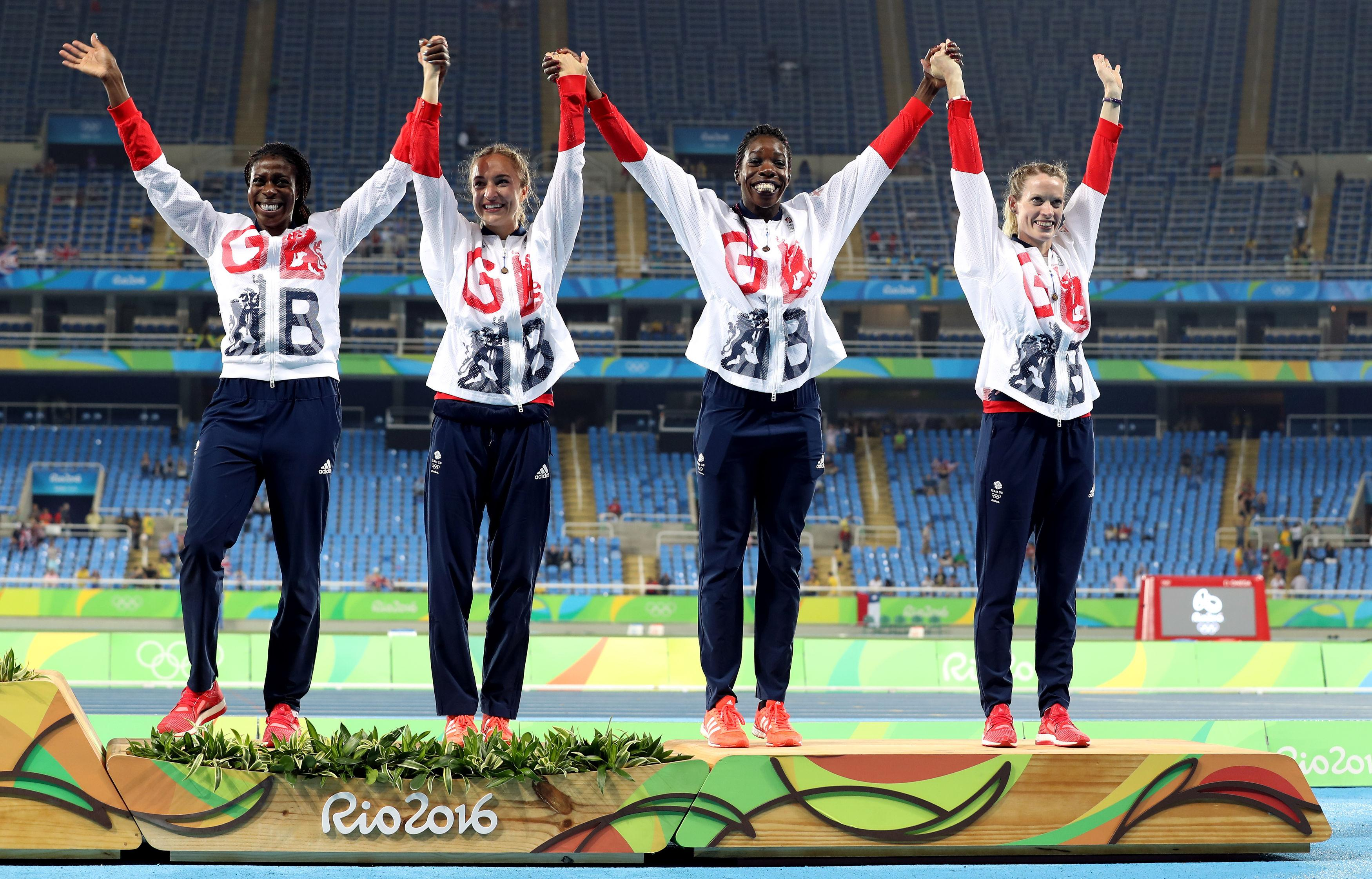 Ohuruogu with her bronze medal-winning 4x400m relay team in Rio