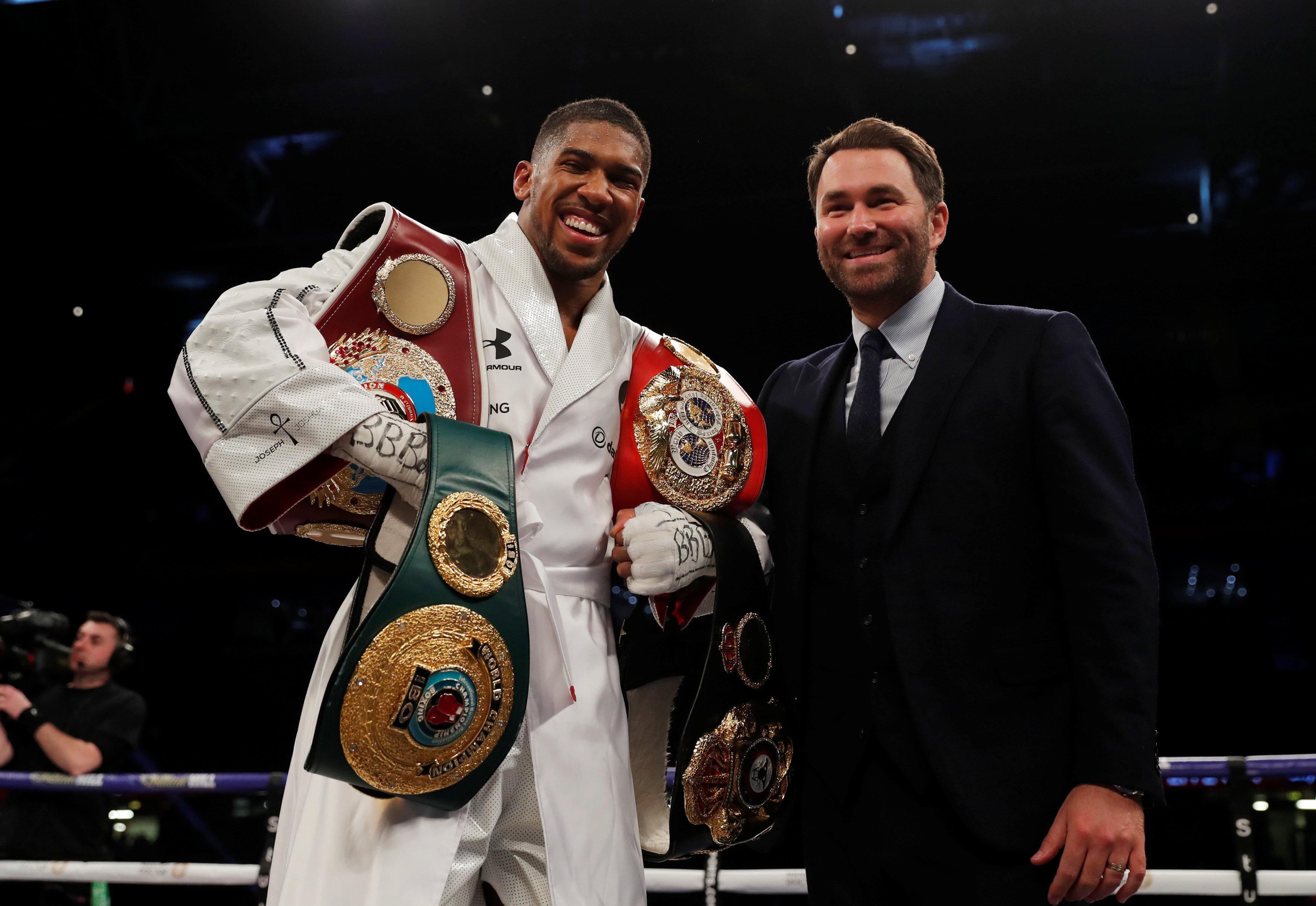 Promoter Eddie Hearn, right, confirmed Anthony Joshua will fight Alexander Povetkin - not Deontay Wilder - next