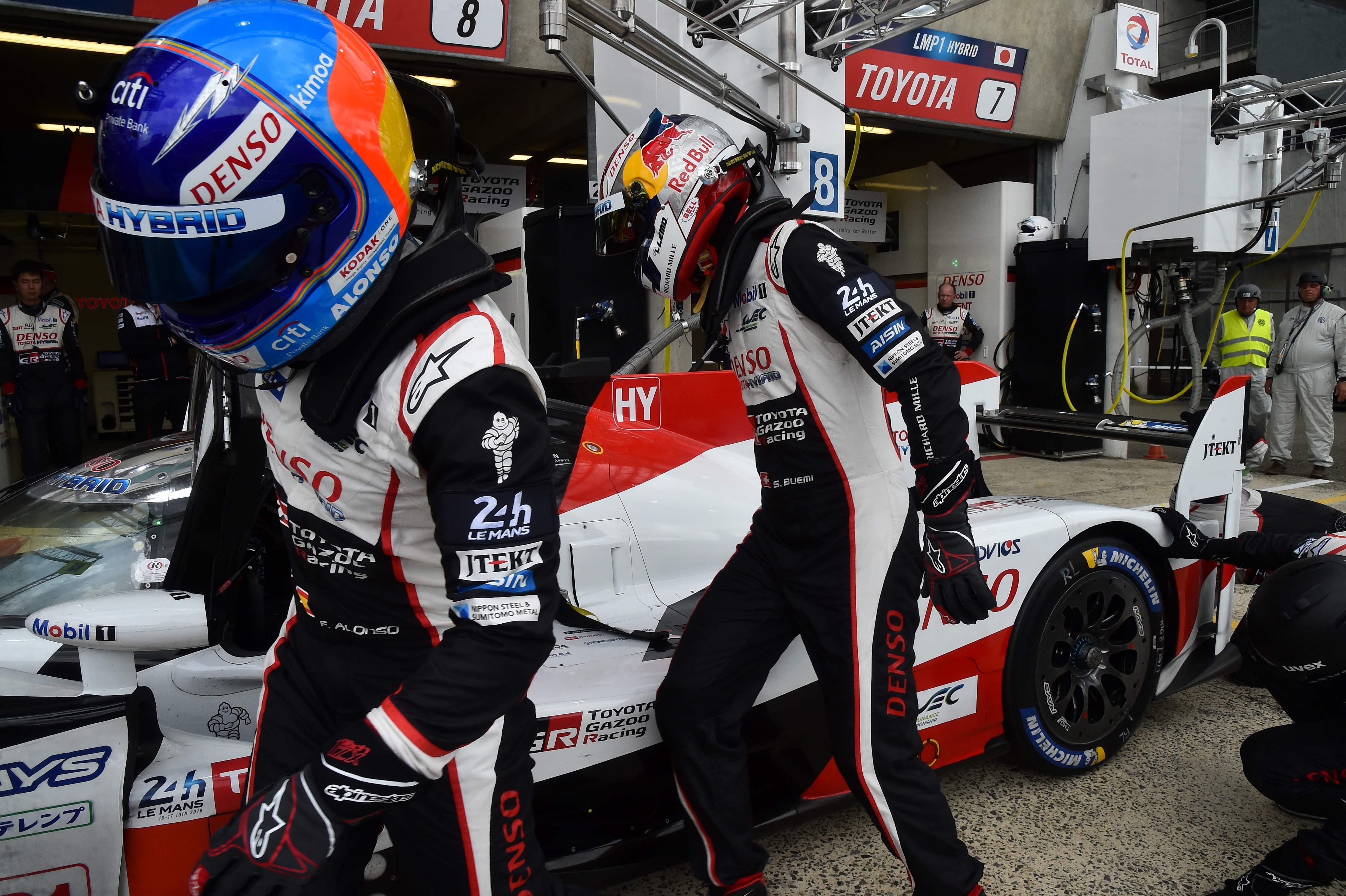 Fernando Alonso drives for the ToyotaWorld Endurance Championship team alongside Sebastian Buemi
