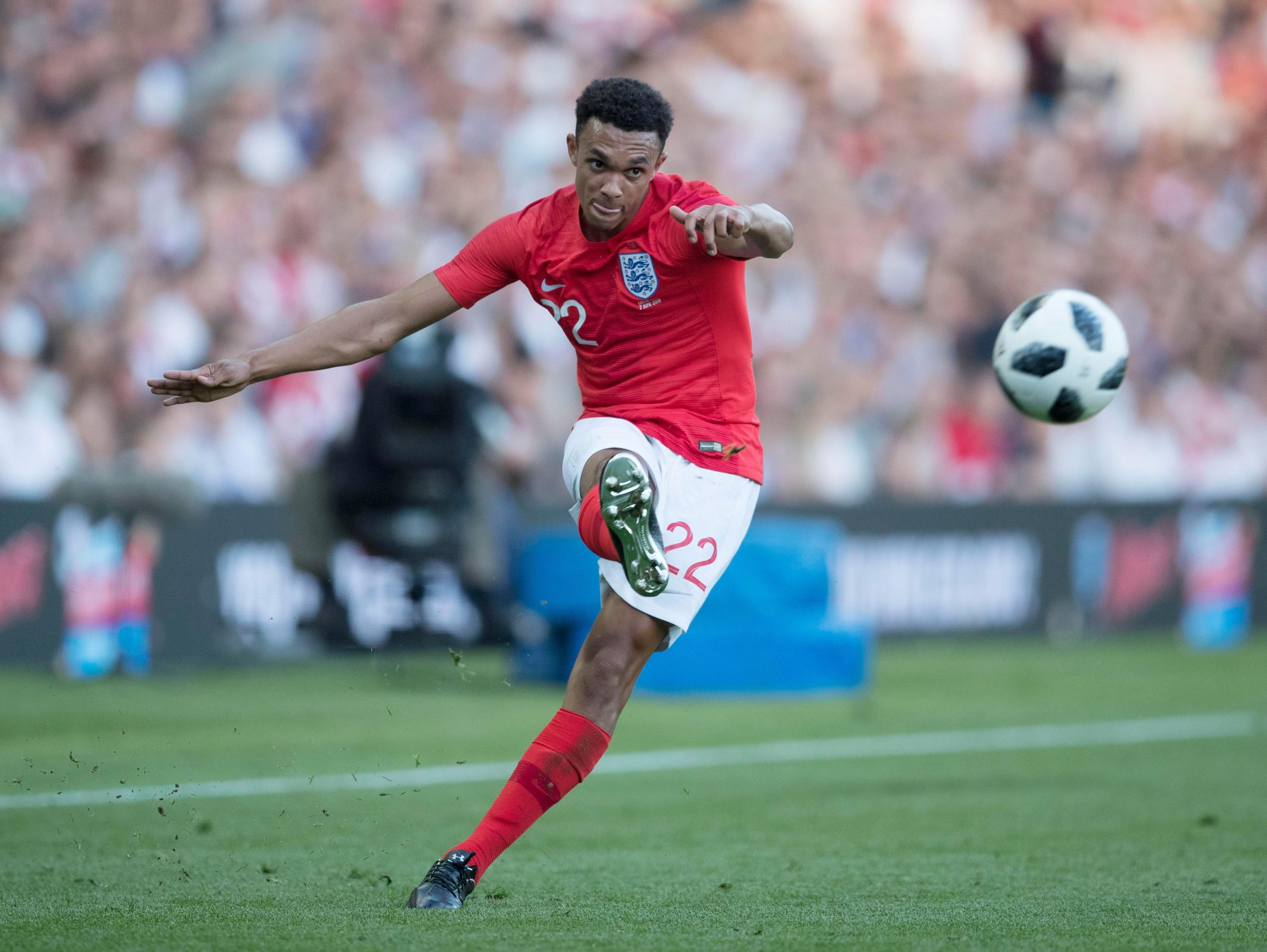 Trent Alexander-Arnold whips in a cross as he impressed on his senior debut for England