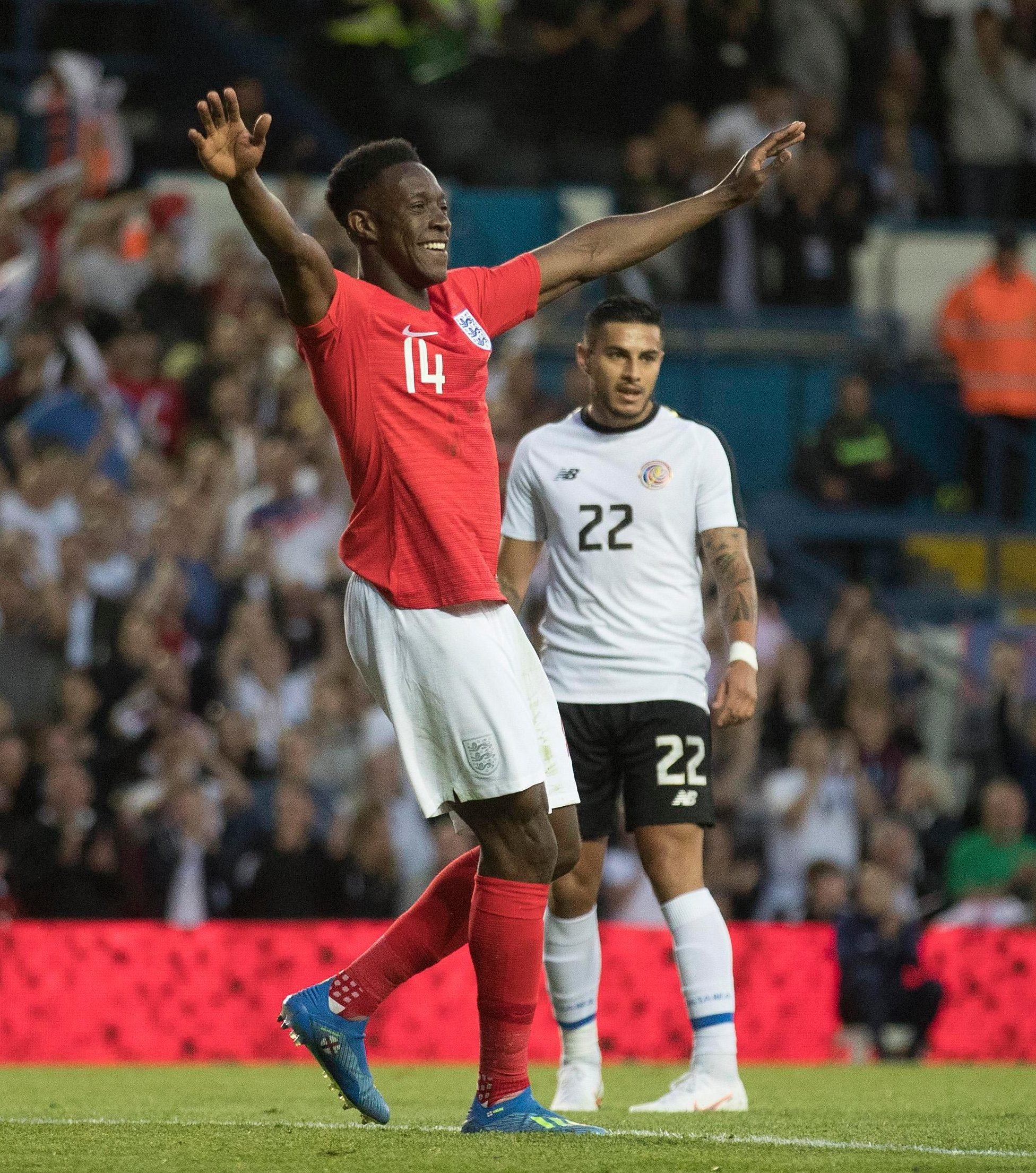 Danny Welbeck celebrates his goal as England finished their preparations for Russia 2018 in style