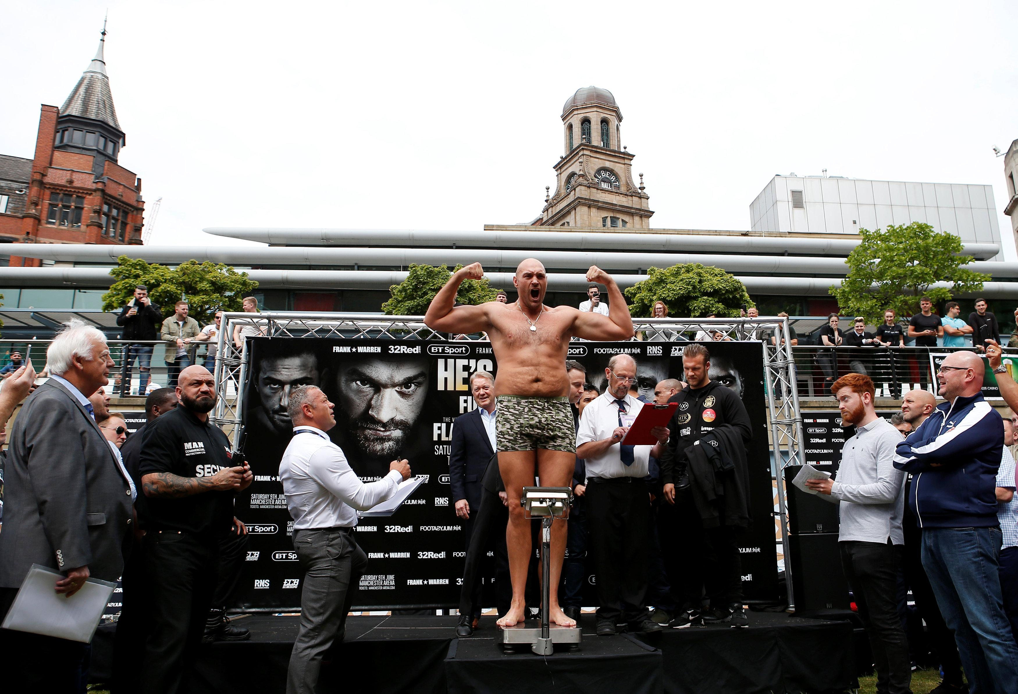 Tyson Fury had the crowds out as he showed off his incredible 8st 2lbs weight loss