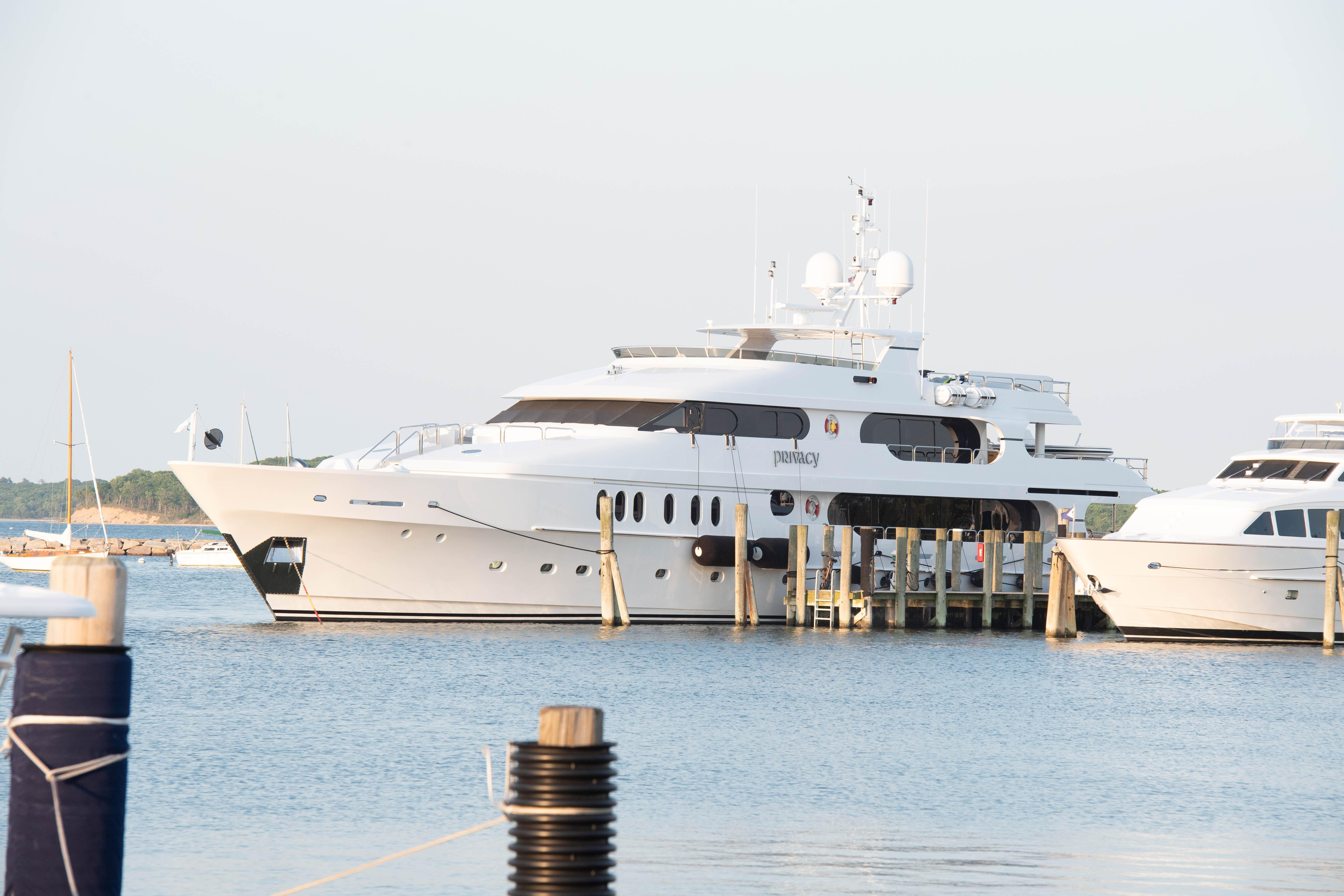 Woods' £15million yacht Privacy docked in Sag Harbour, New York