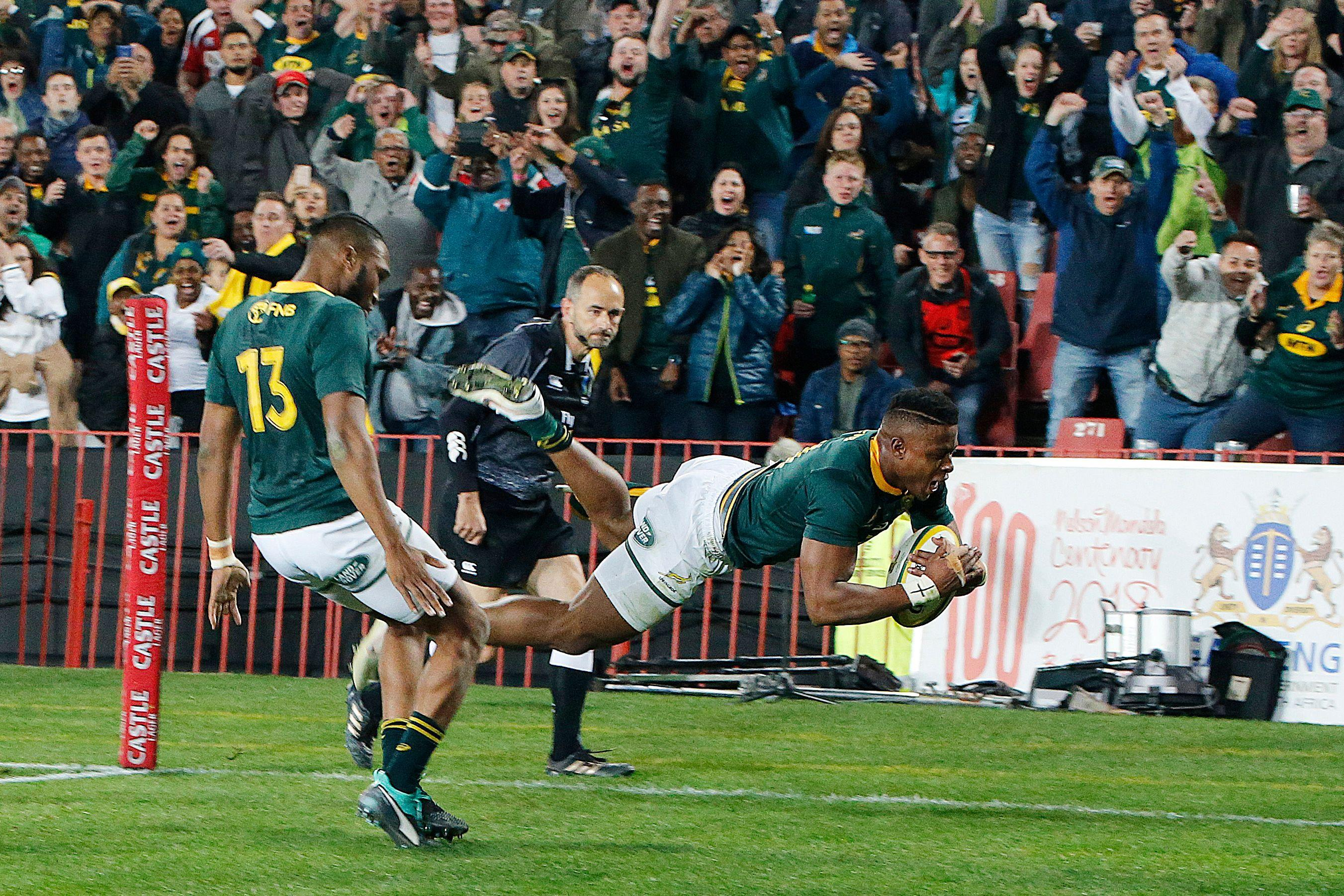Aphiwe Dyanti went over for a try in the 64th minute for South Africa