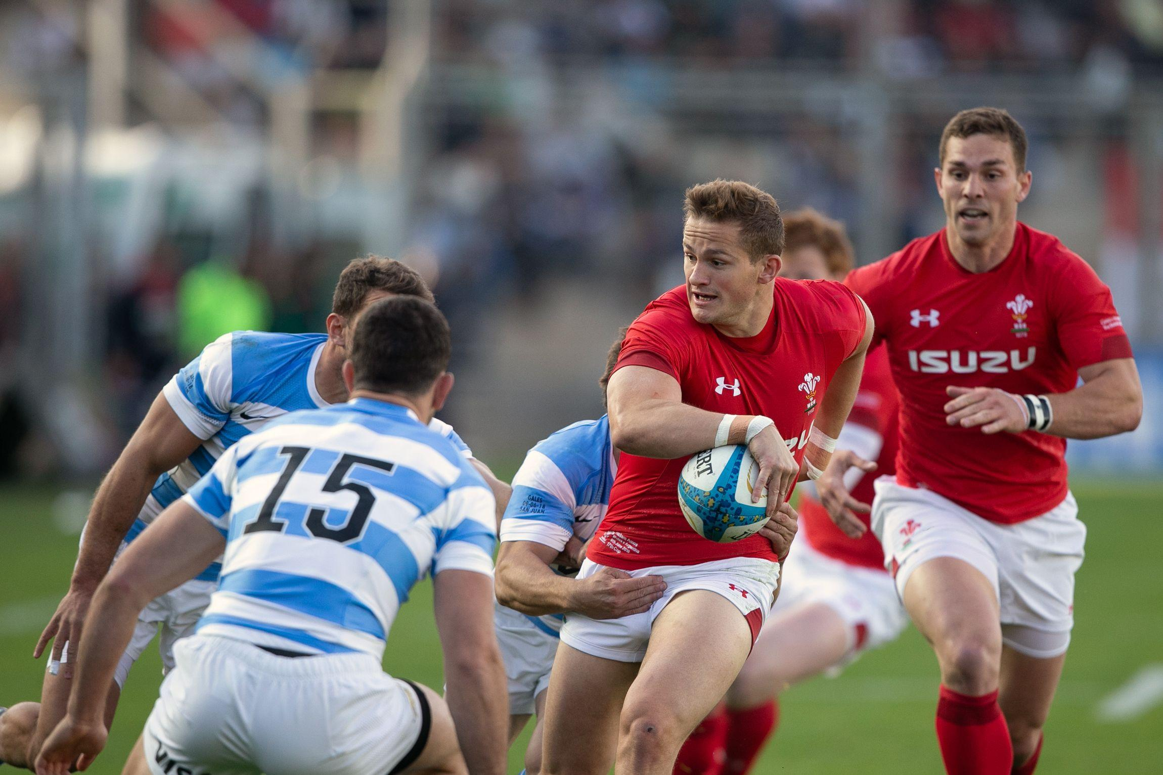 Wales star Hallam Amos in action against Argentina in San Juan
