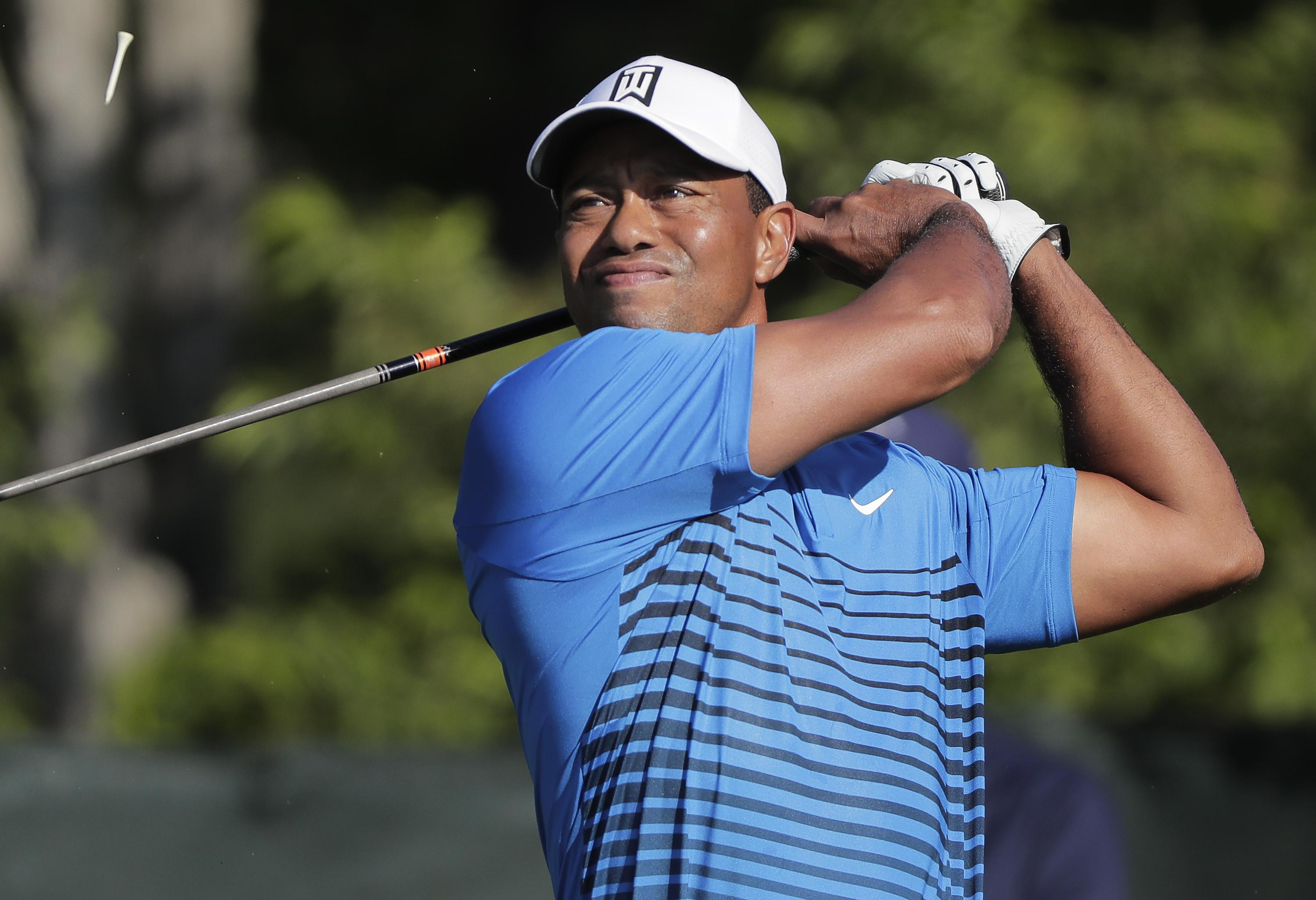 Woods teed off his preparations for this week's US Open in the practice round on Tuesday