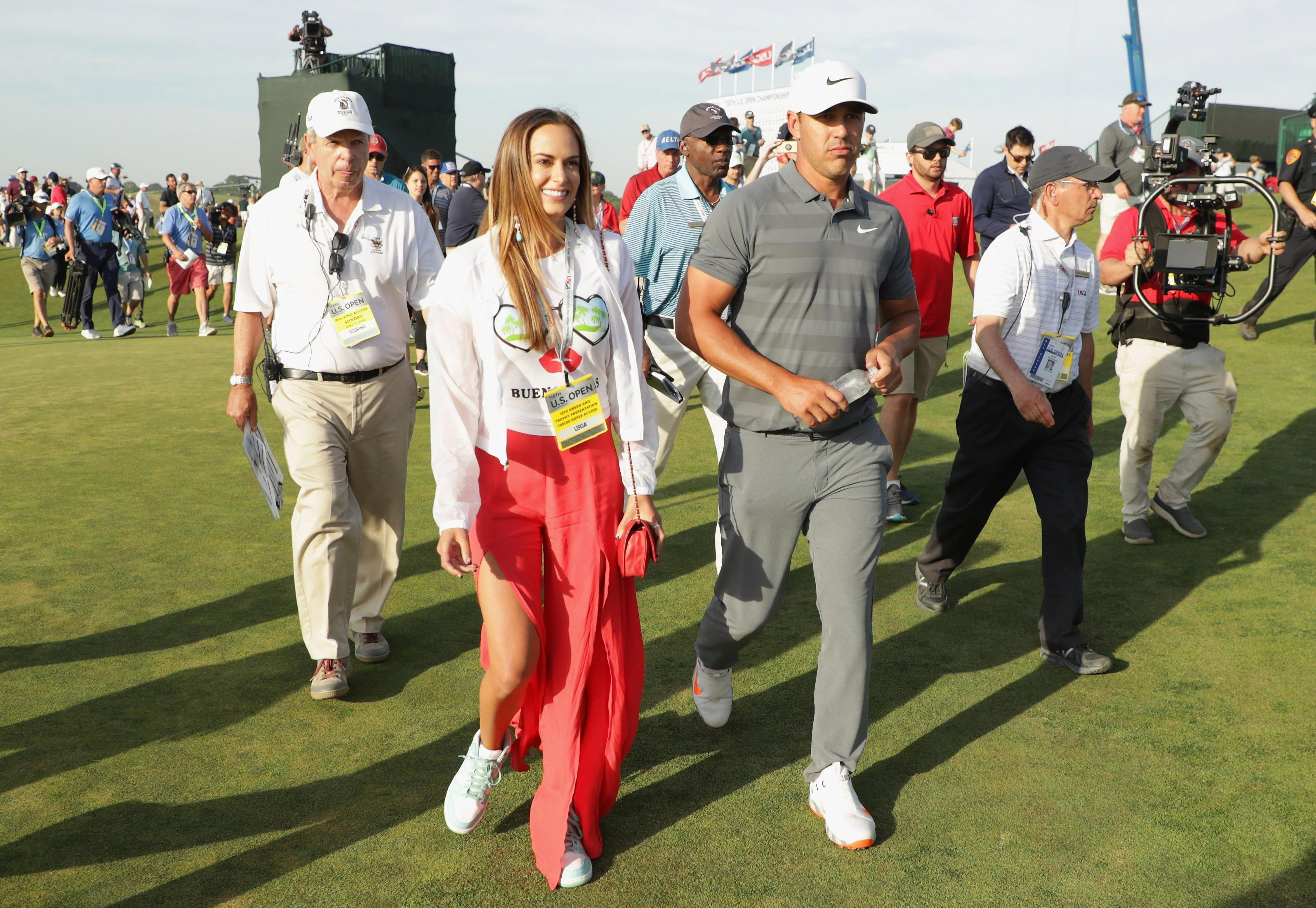 Brooks Koepka was cheered on by his girlfriend Jena Sims